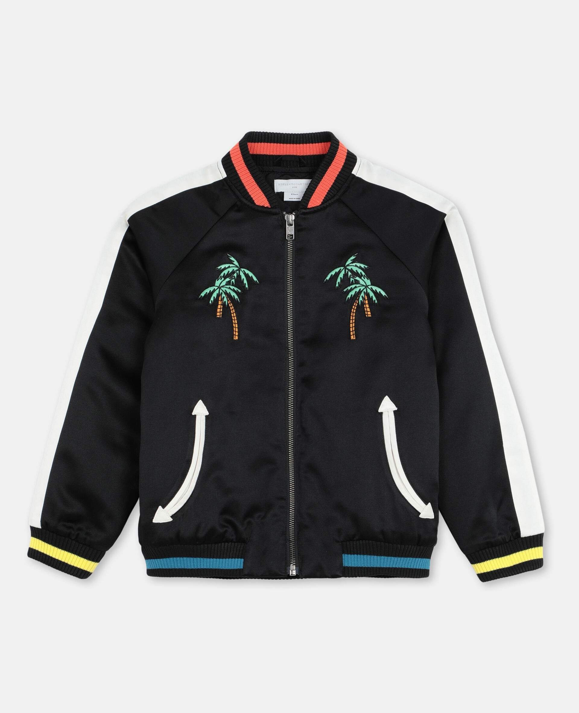 Embroided Palms Satin Bomber    -Black-large image number 0