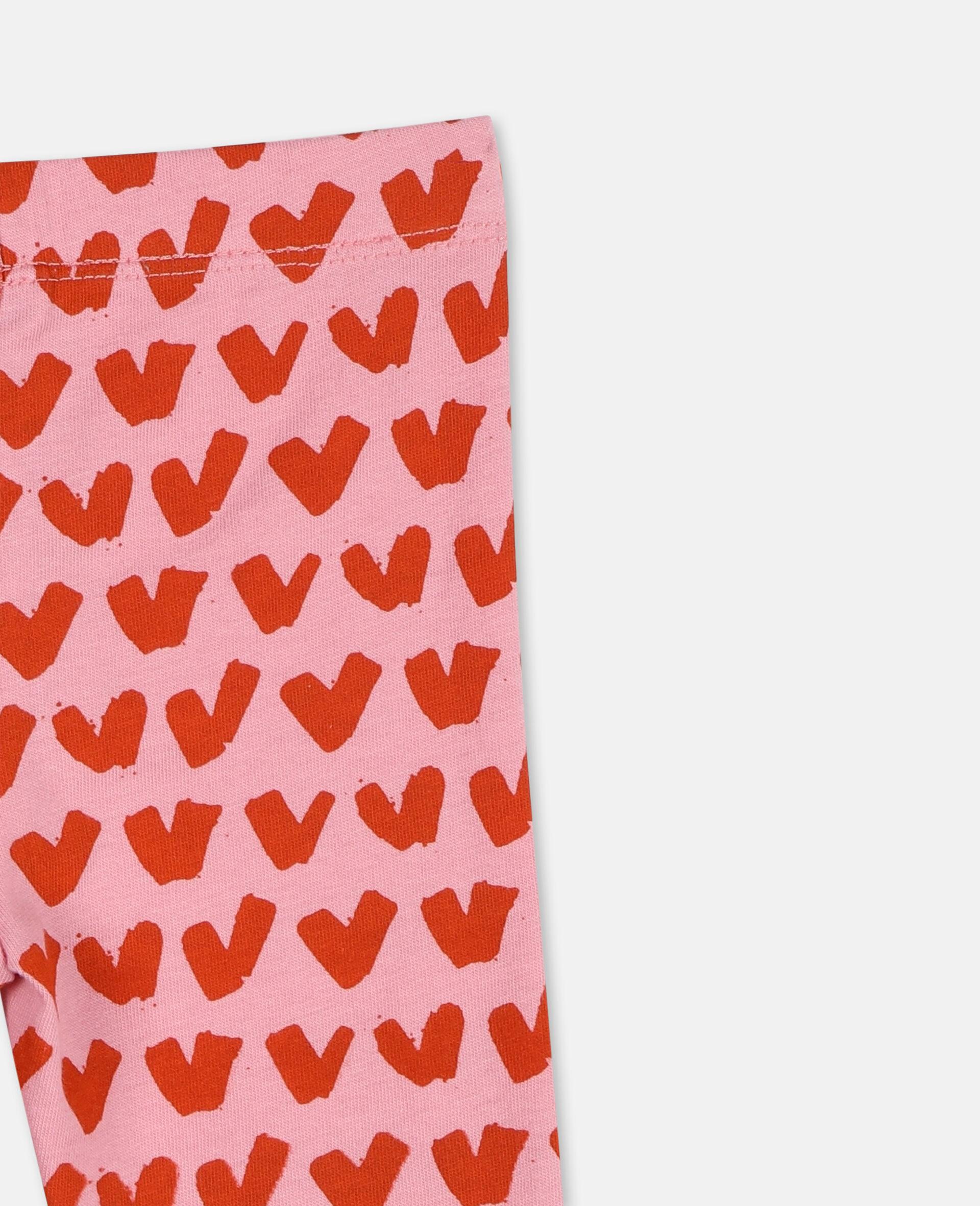 Hearts Cotton Leggings -Pink-large image number 2
