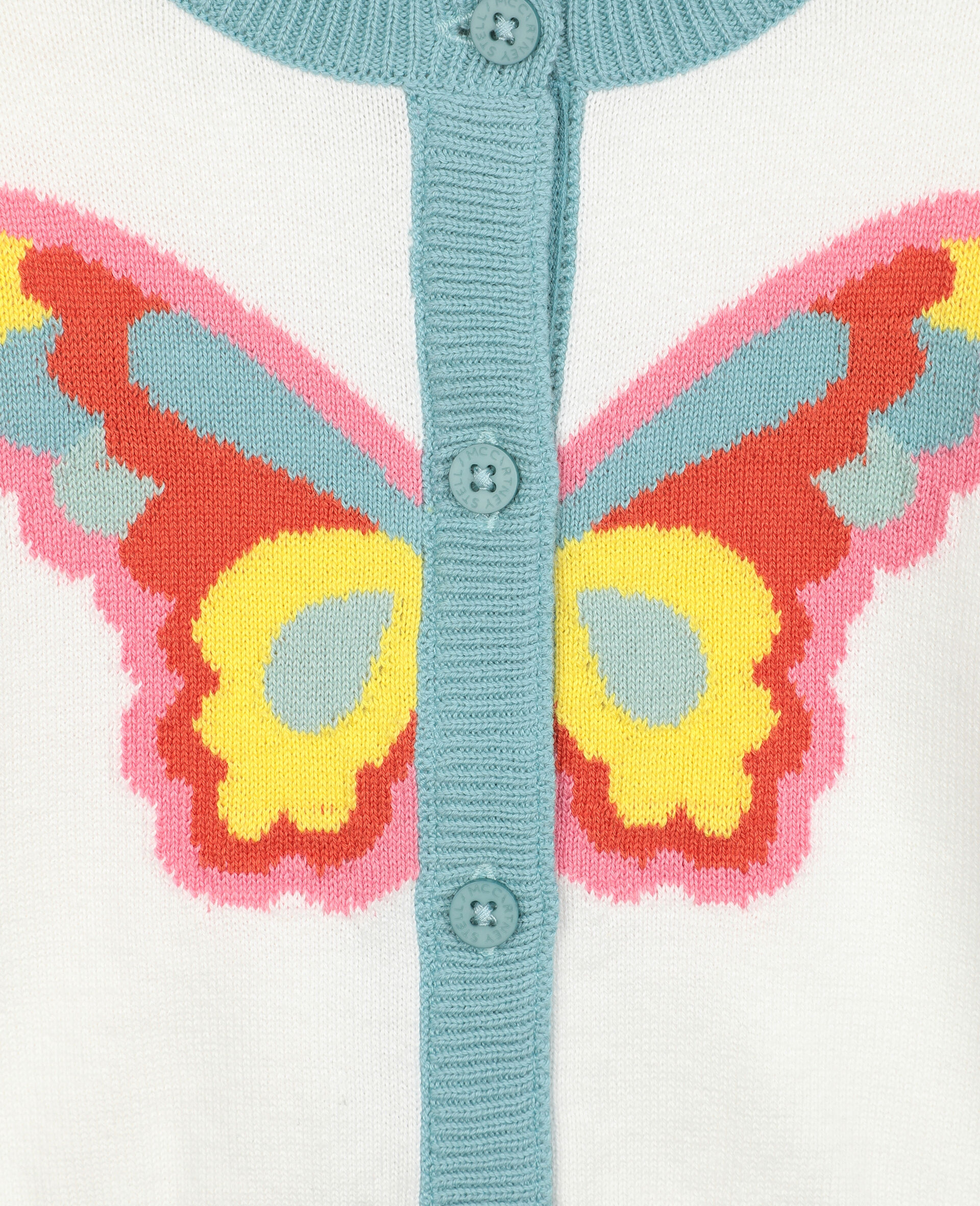 Butterfly Intarsia Knit Cardigan -White-large image number 1