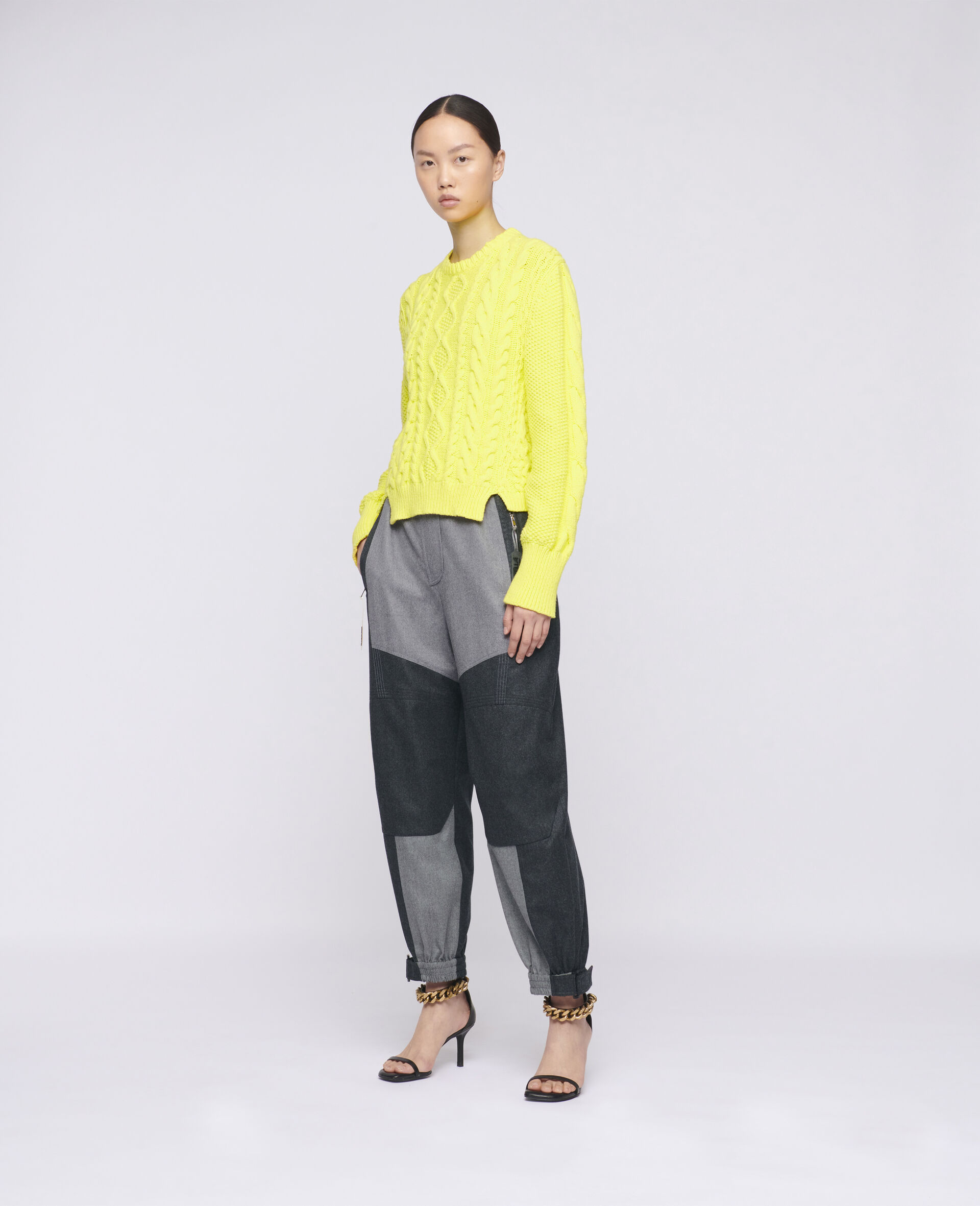 Aran Stitch Cropped Jumper-Yellow-large image number 1