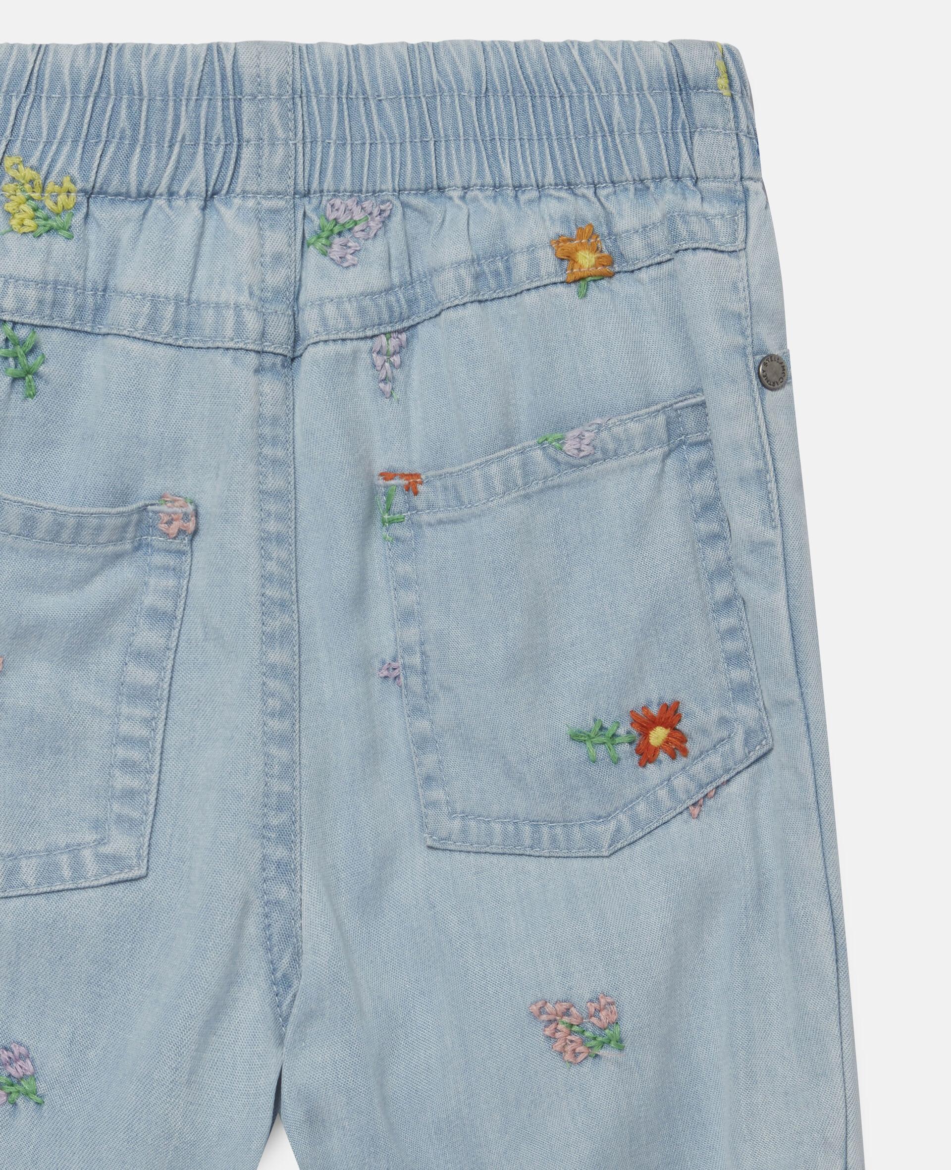 Jeans in Denim con Fiori Ricamati-Blu-large image number 2