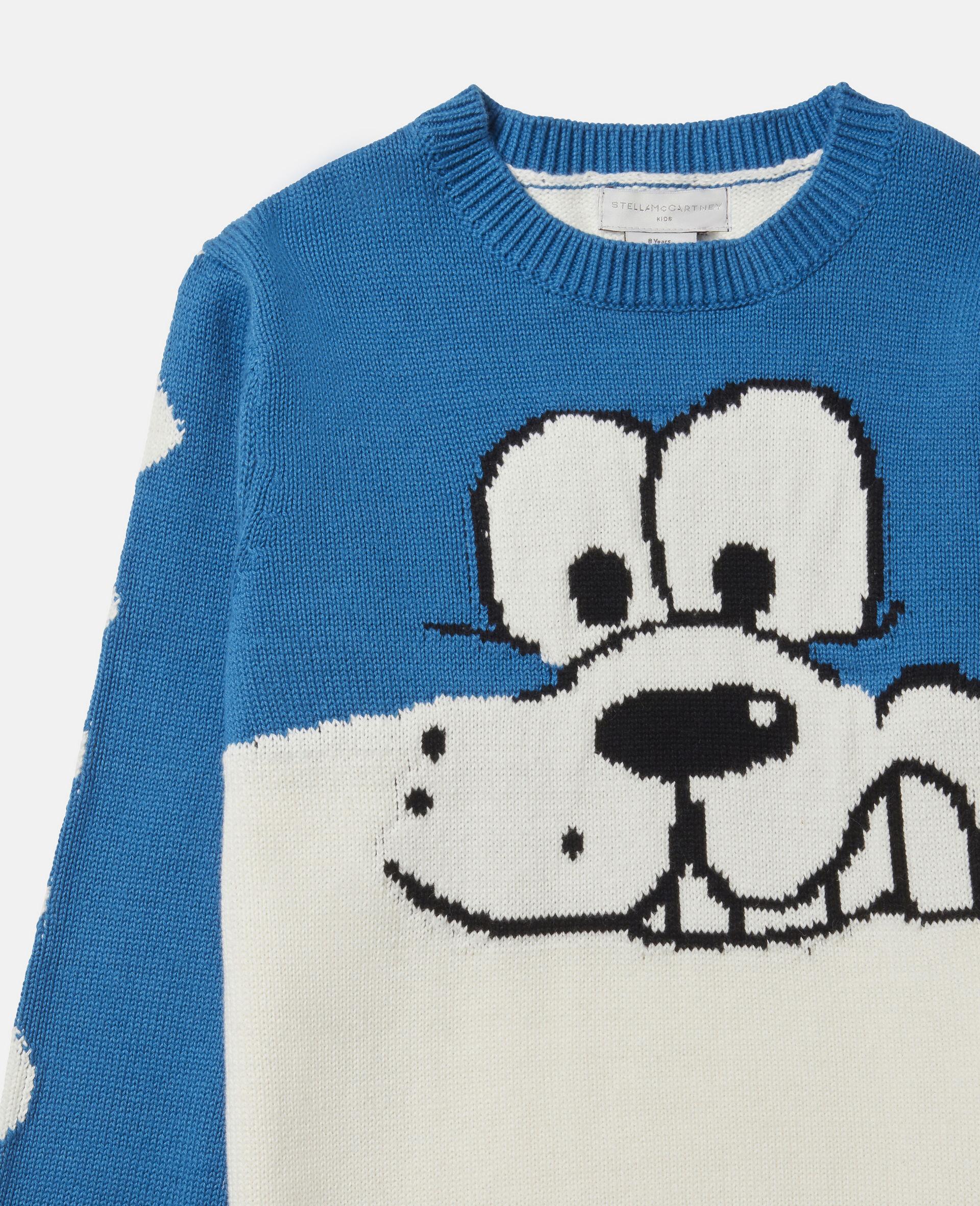 Doodle Dog Knit Intarsia Jumper-White-large image number 1