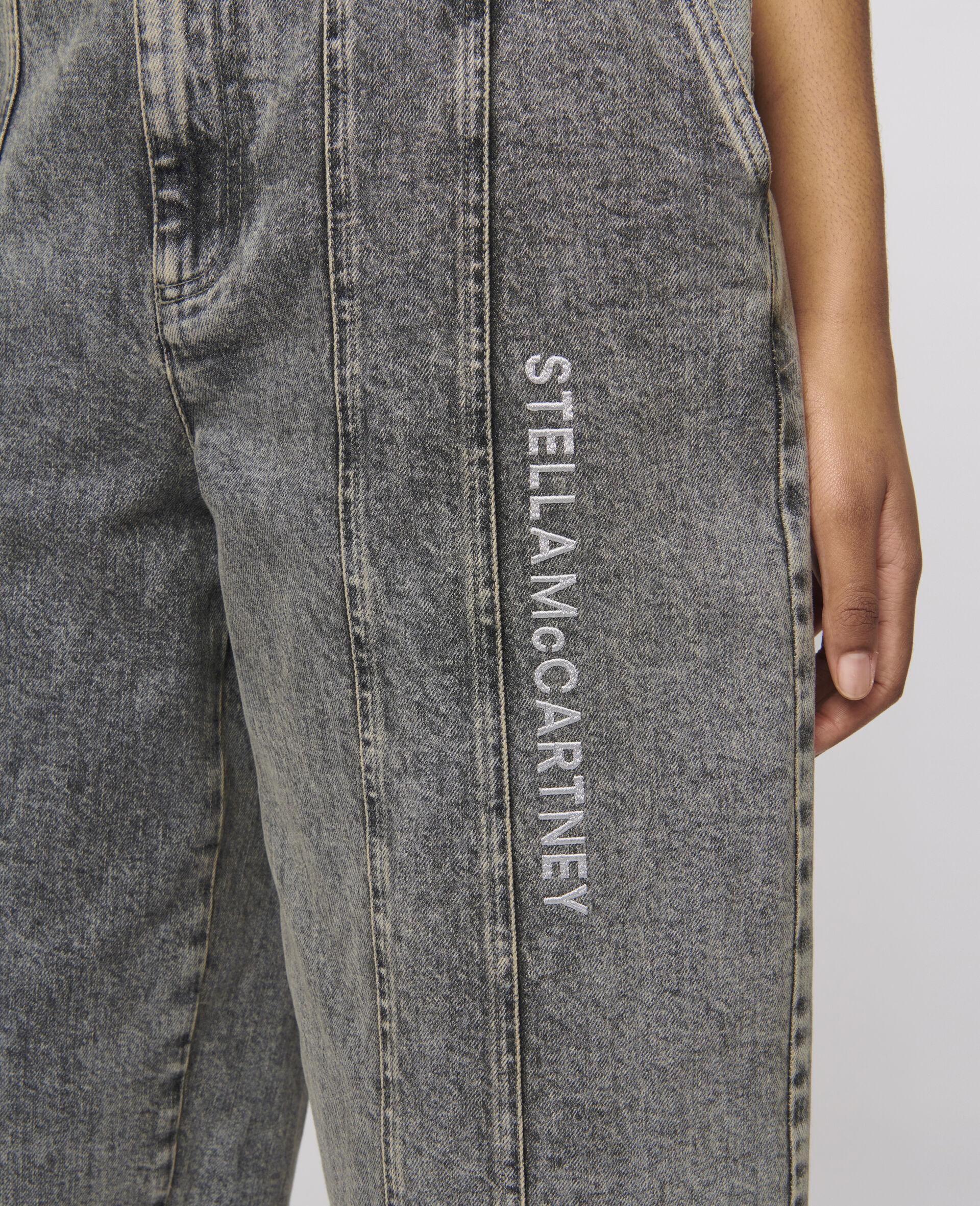 Logo Embroidered Jeans -Grey-large image number 3