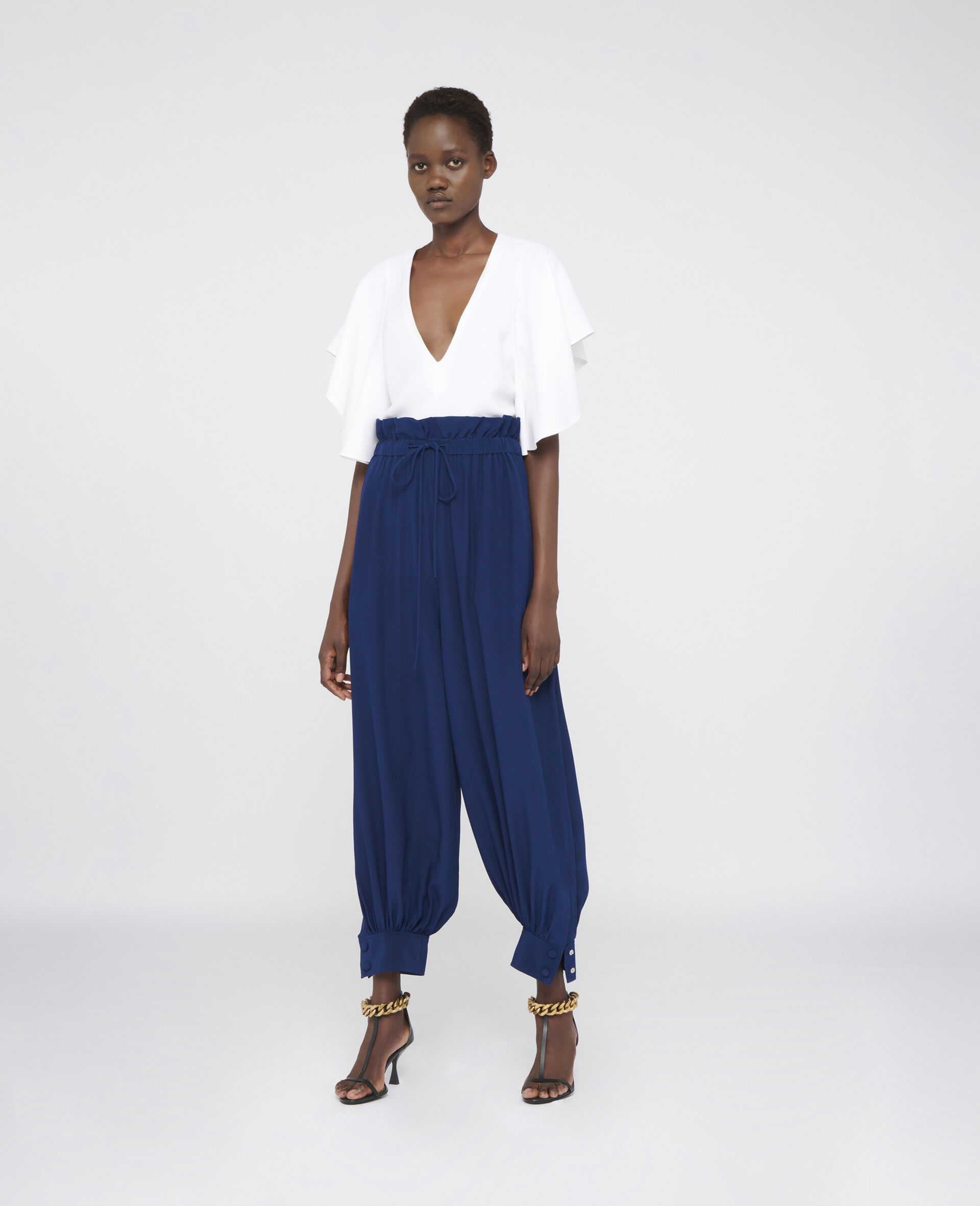 Lauryn Silk Trousers-Blue-large image number 1