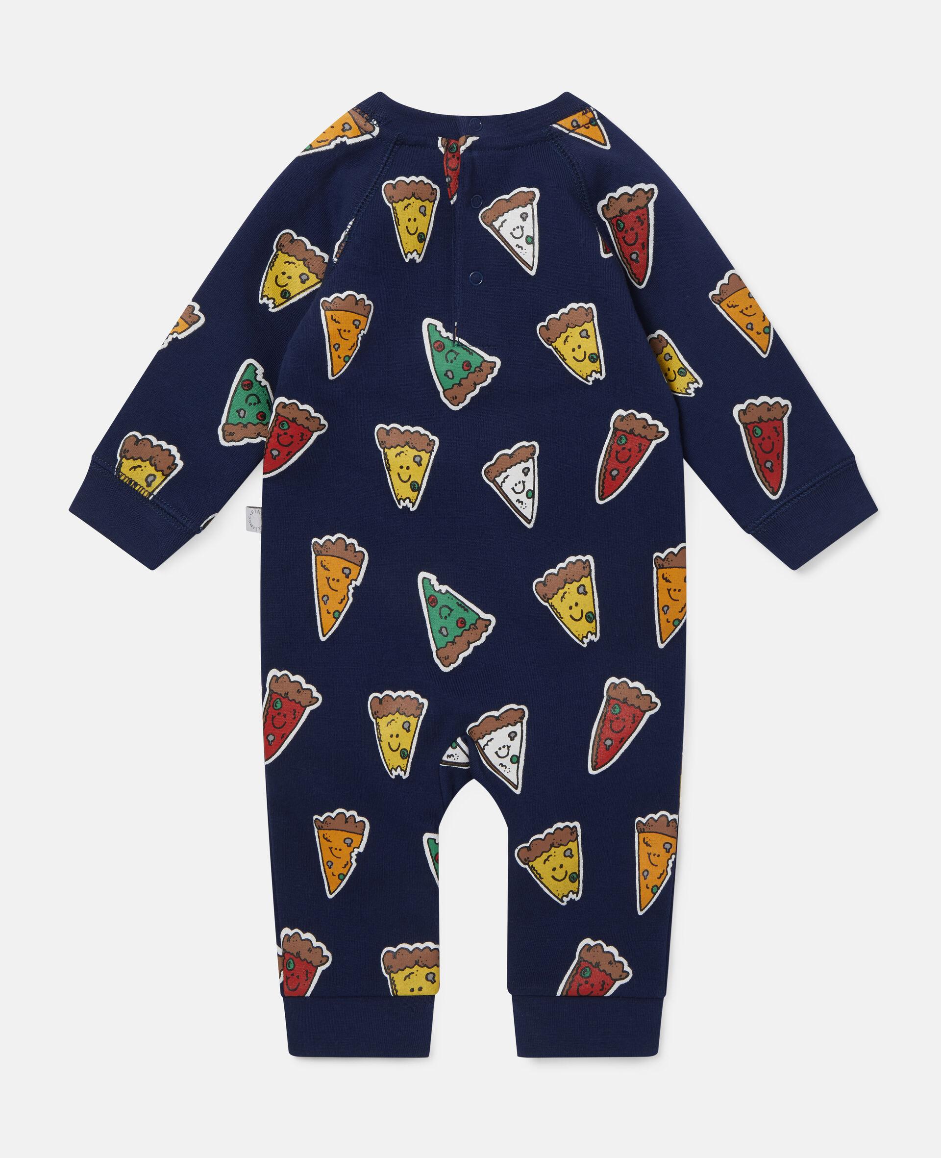 Pizzas Fleece Jumpsuit-Blue-large image number 3