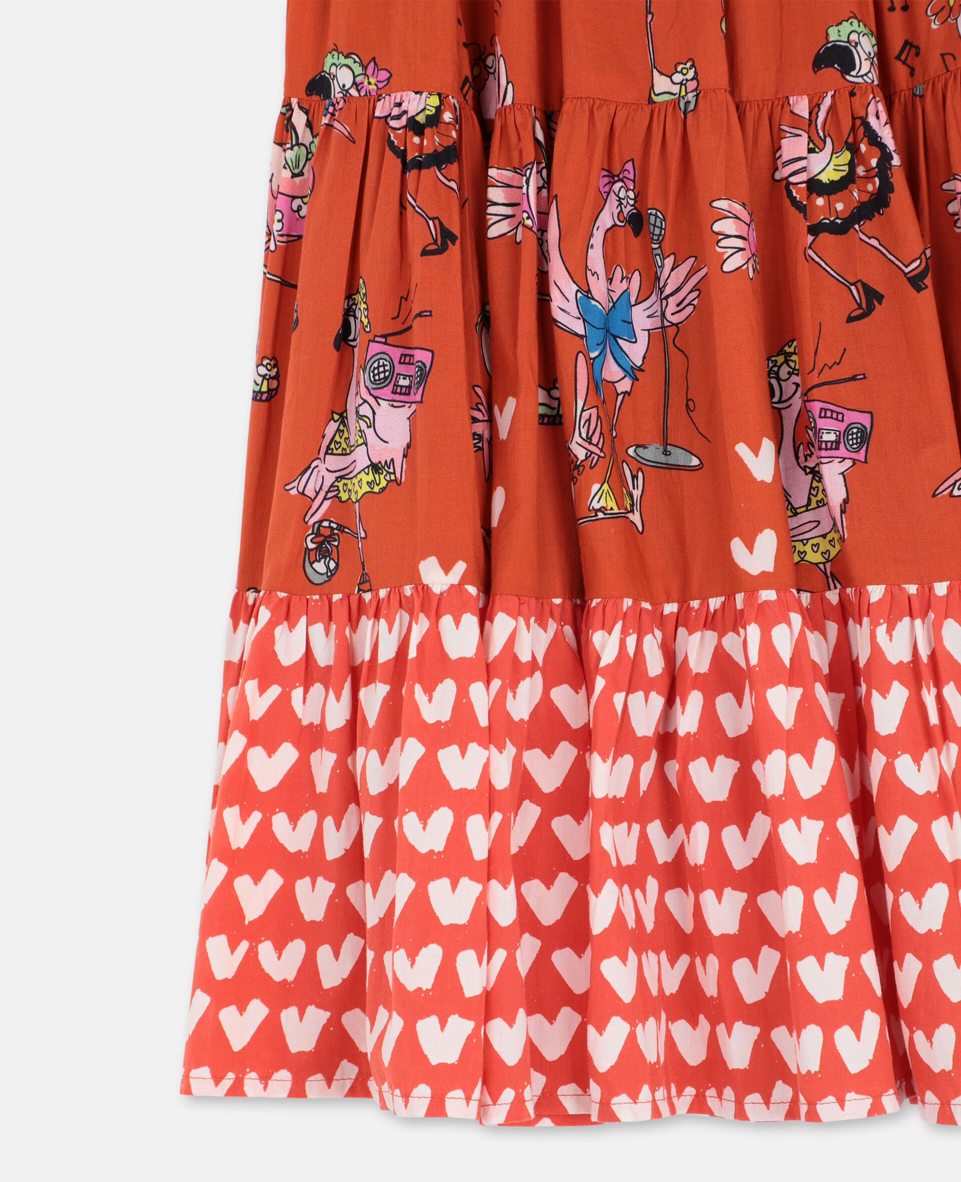 Flamingo Party Cotton Skirt -Red-large image number 2