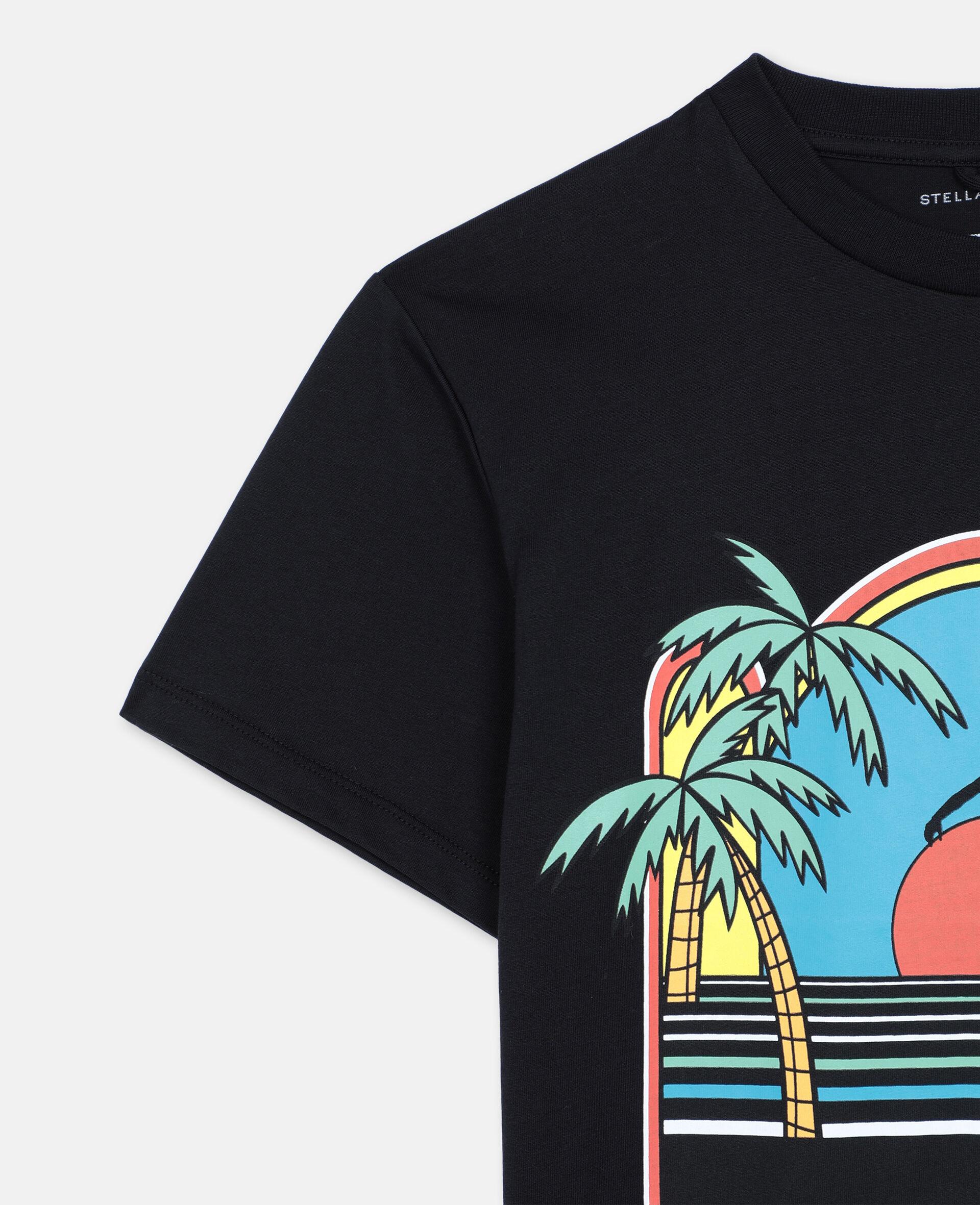 Oversize Skater Cotton T-shirt -Black-large image number 2