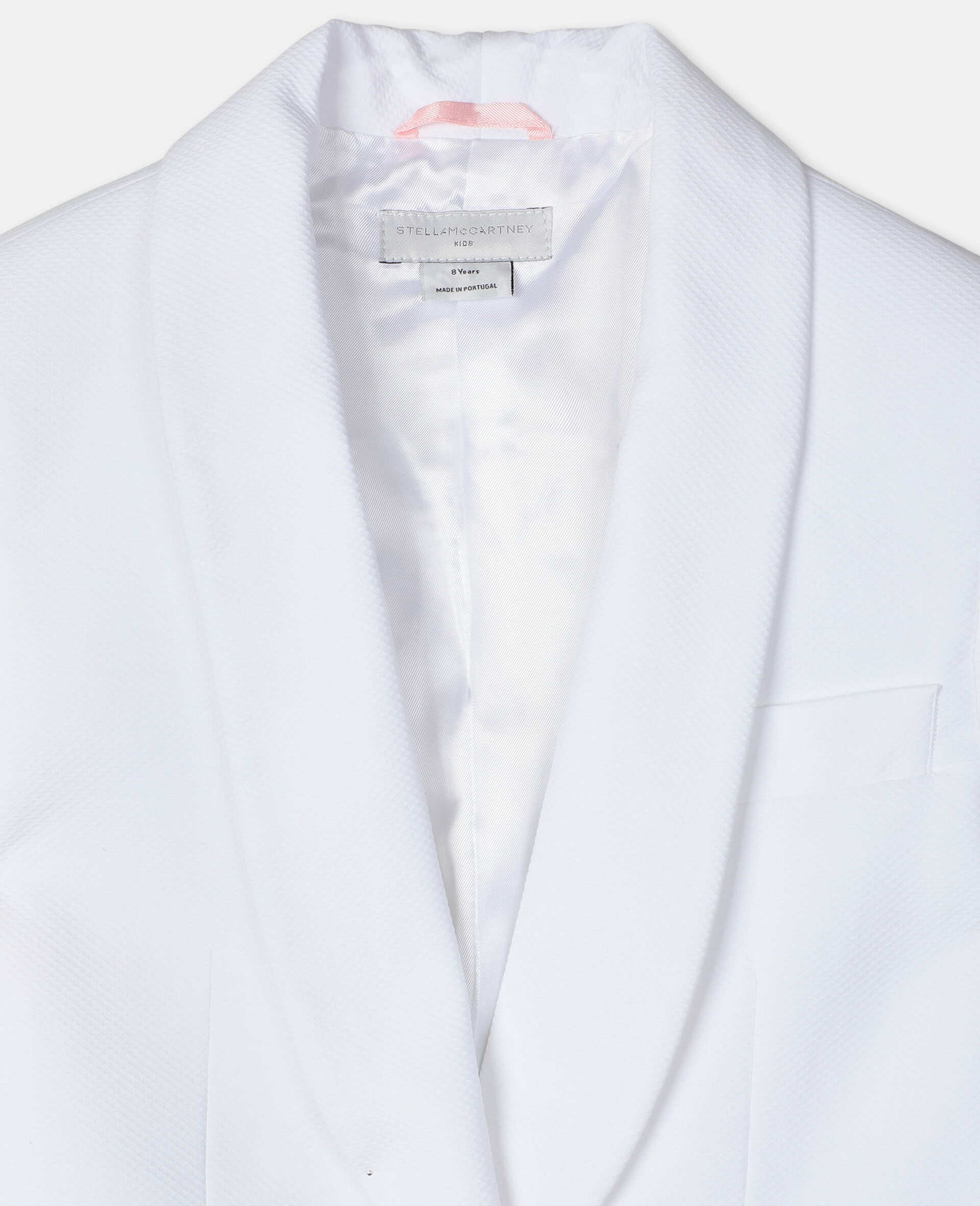 Cotton-Piqué Suit Jacket -White-large image number 1