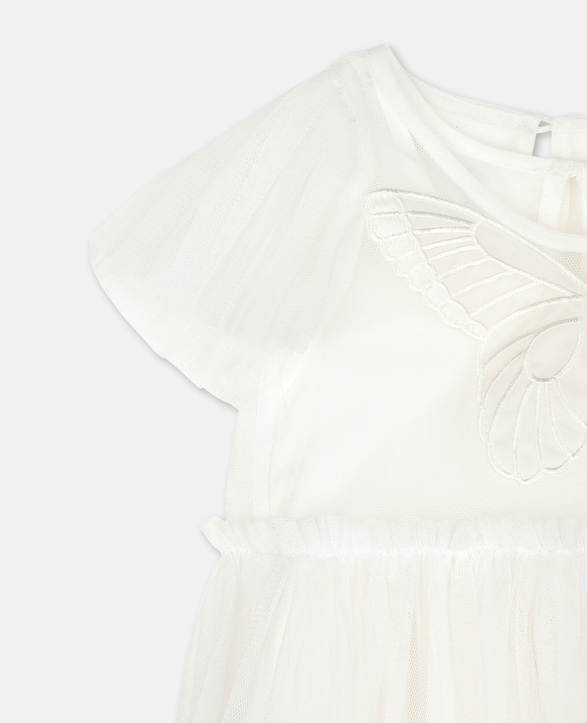 Butterfly Patch Tulle Dress -White-large image number 2