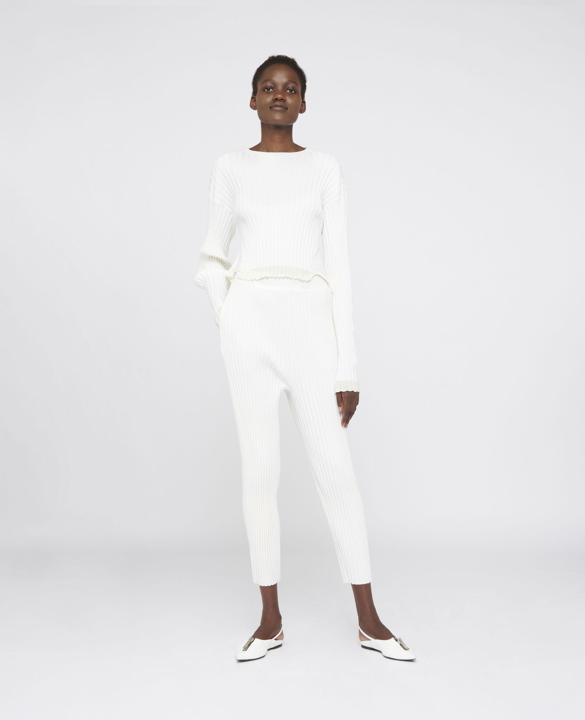 罗纹针织裤装-白色-large image number 1