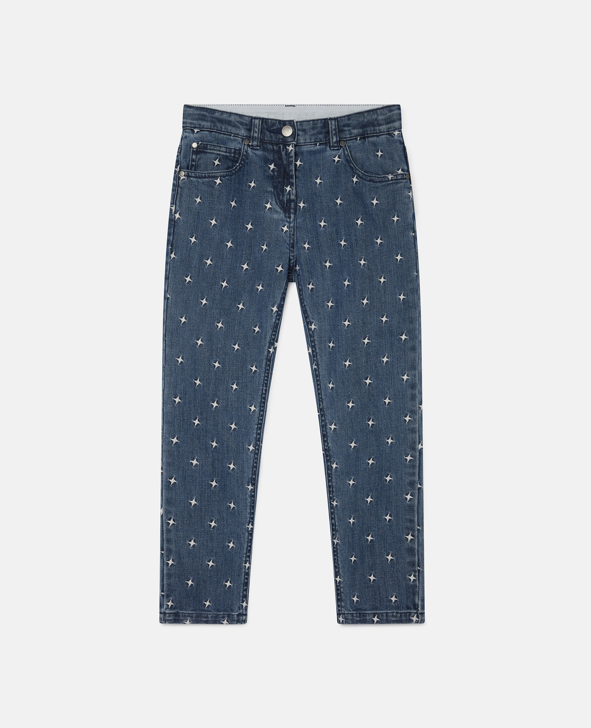 Embroidered Stars Denim Trousers-Blue-large image number 0