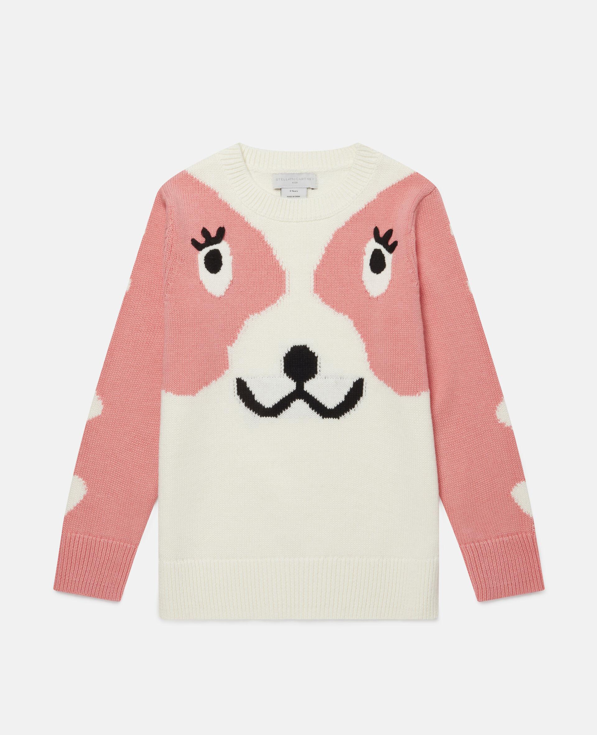 Doodle Dog Intarsia Sweater -White-large image number 0
