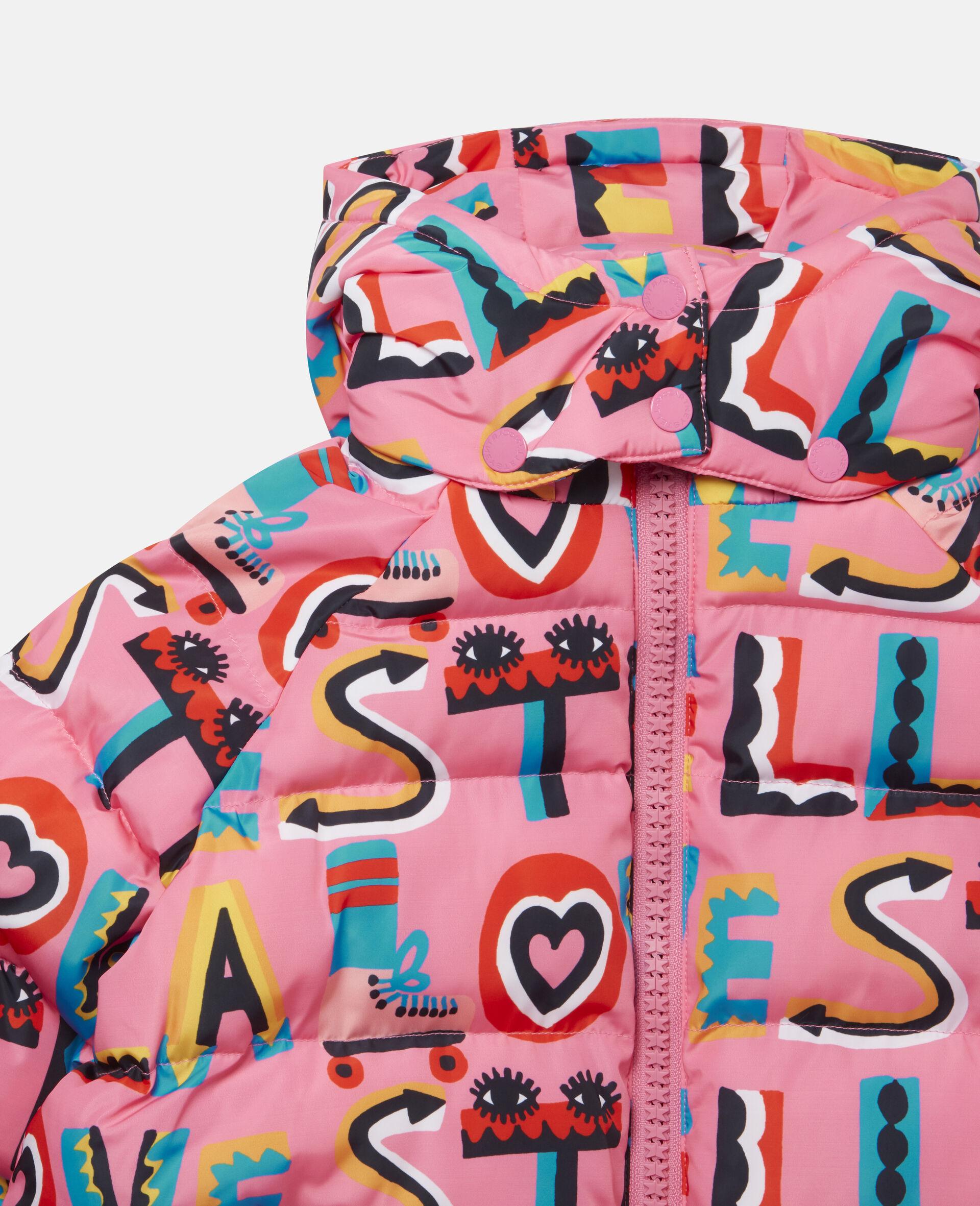 Stella Loves Hooded Puffer Jacket -Pink-large image number 1