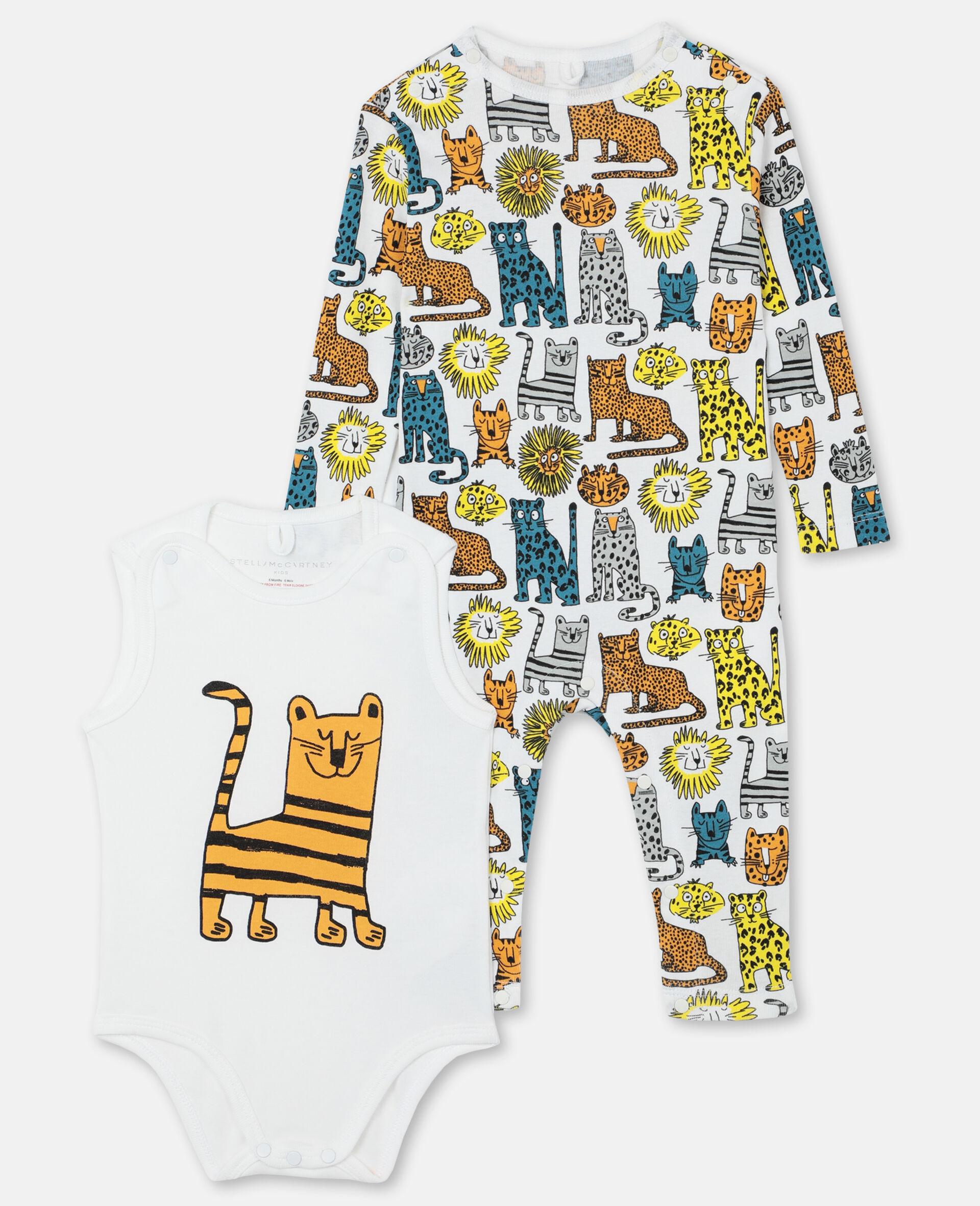 Body und Jumpsuit aus geripptem Jersey mit Wildkatzen-Print -Bunt-large image number 0