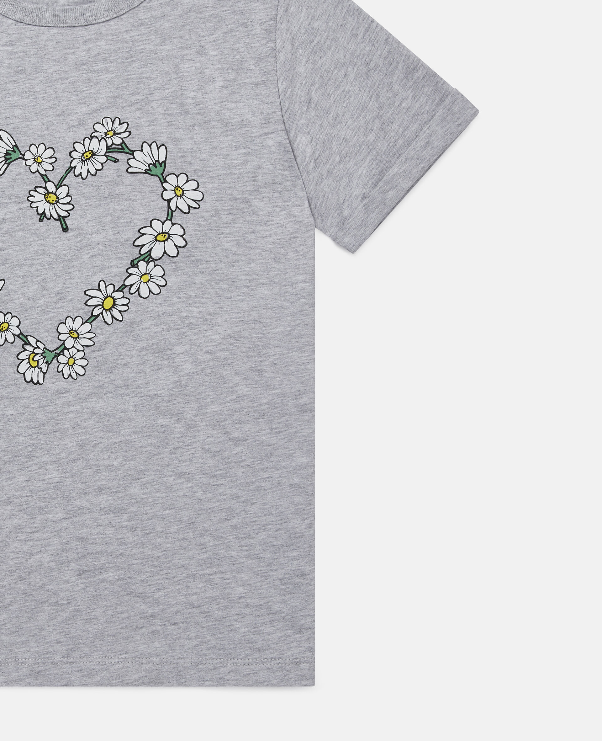 Daisy Heart Cotton T-Shirt-Grey-large image number 1