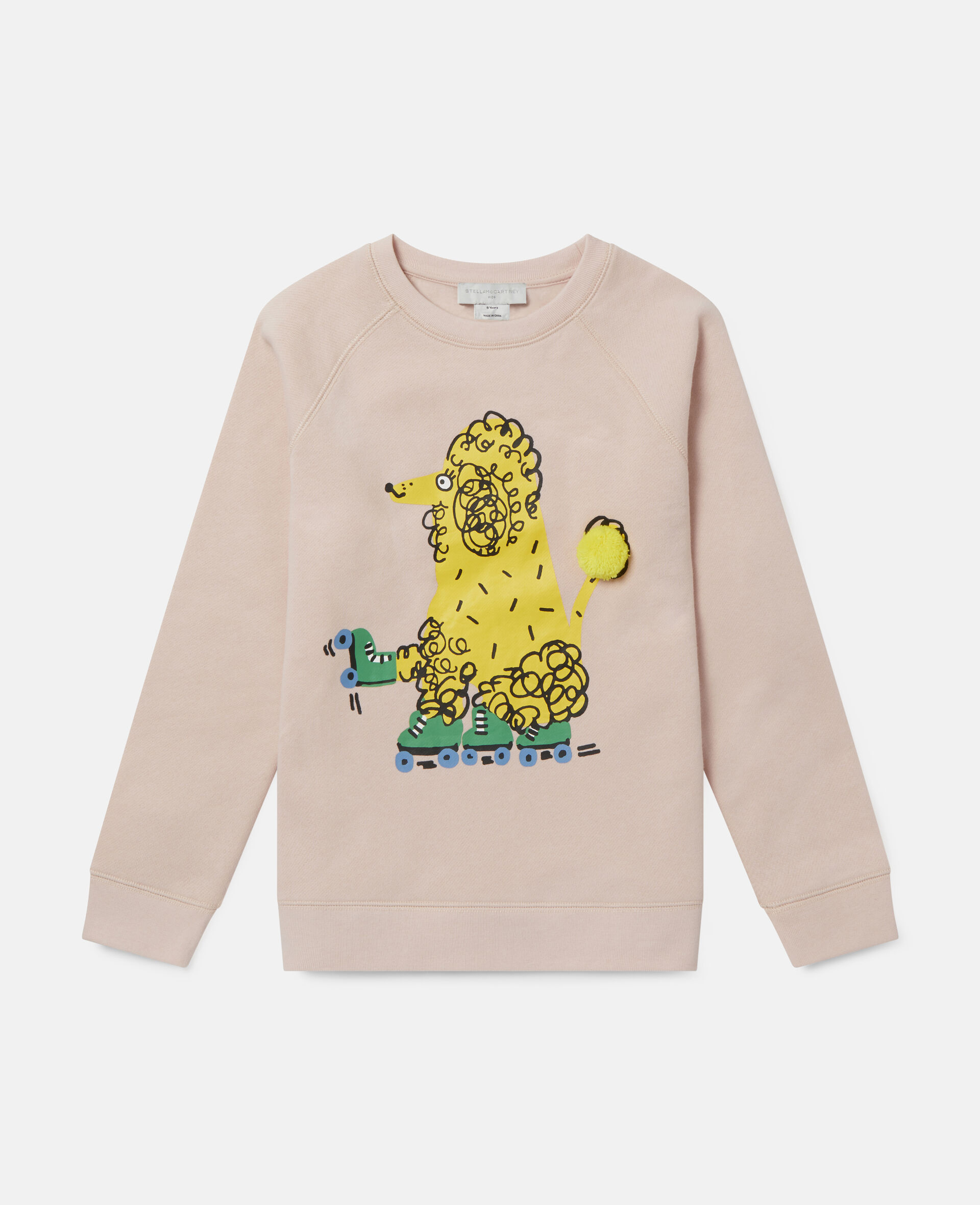 Sweatshirt aus Fleece mit Pudel auf Rollerskates-Rose-large image number 0