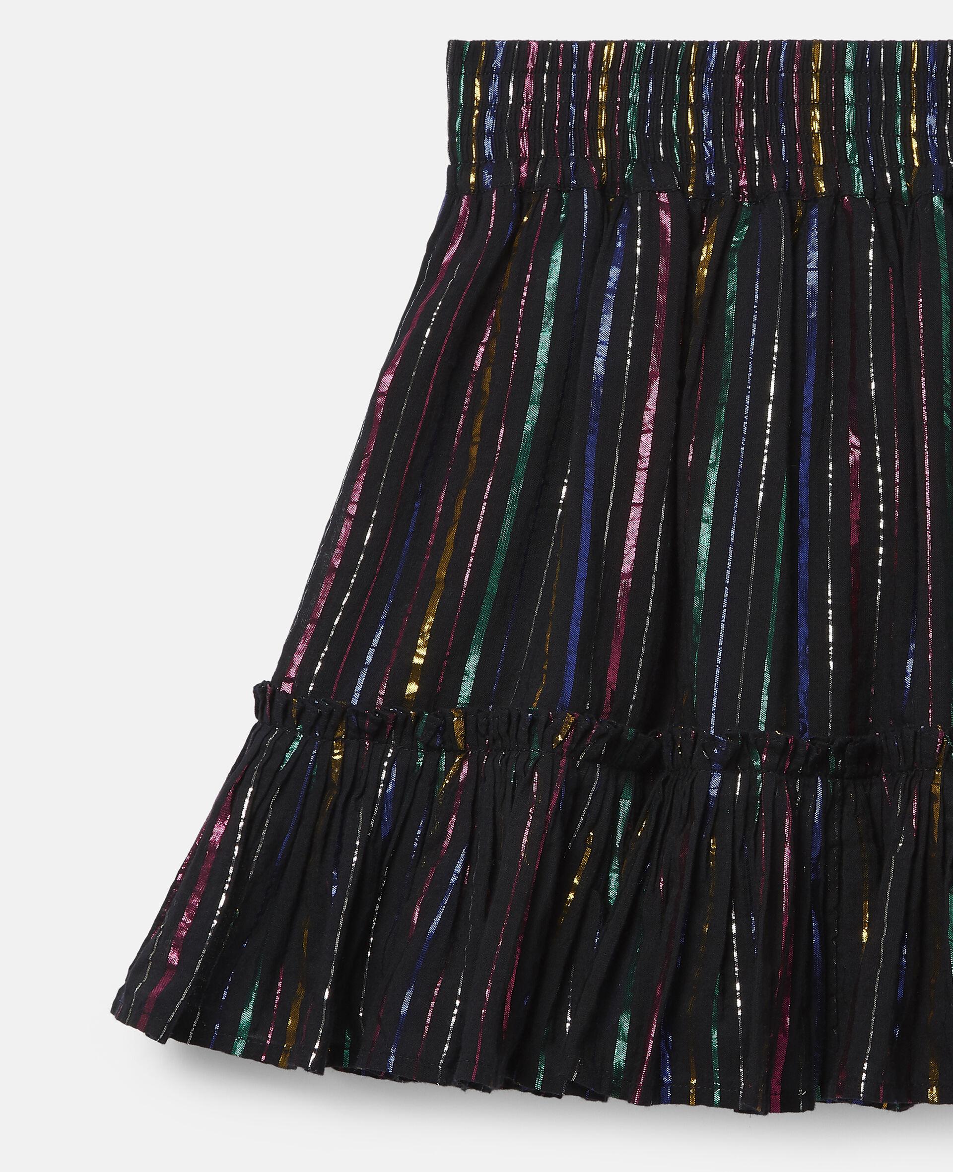 Rainbow Lurex Striped Cotton Skirt-Black-large image number 2