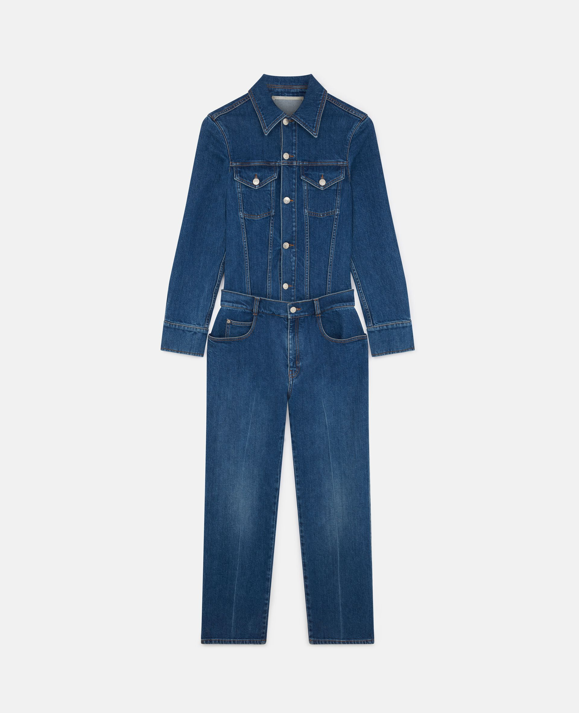 Denim-Jumpsuit in Vintage-Wäsche -Blau-large image number 0
