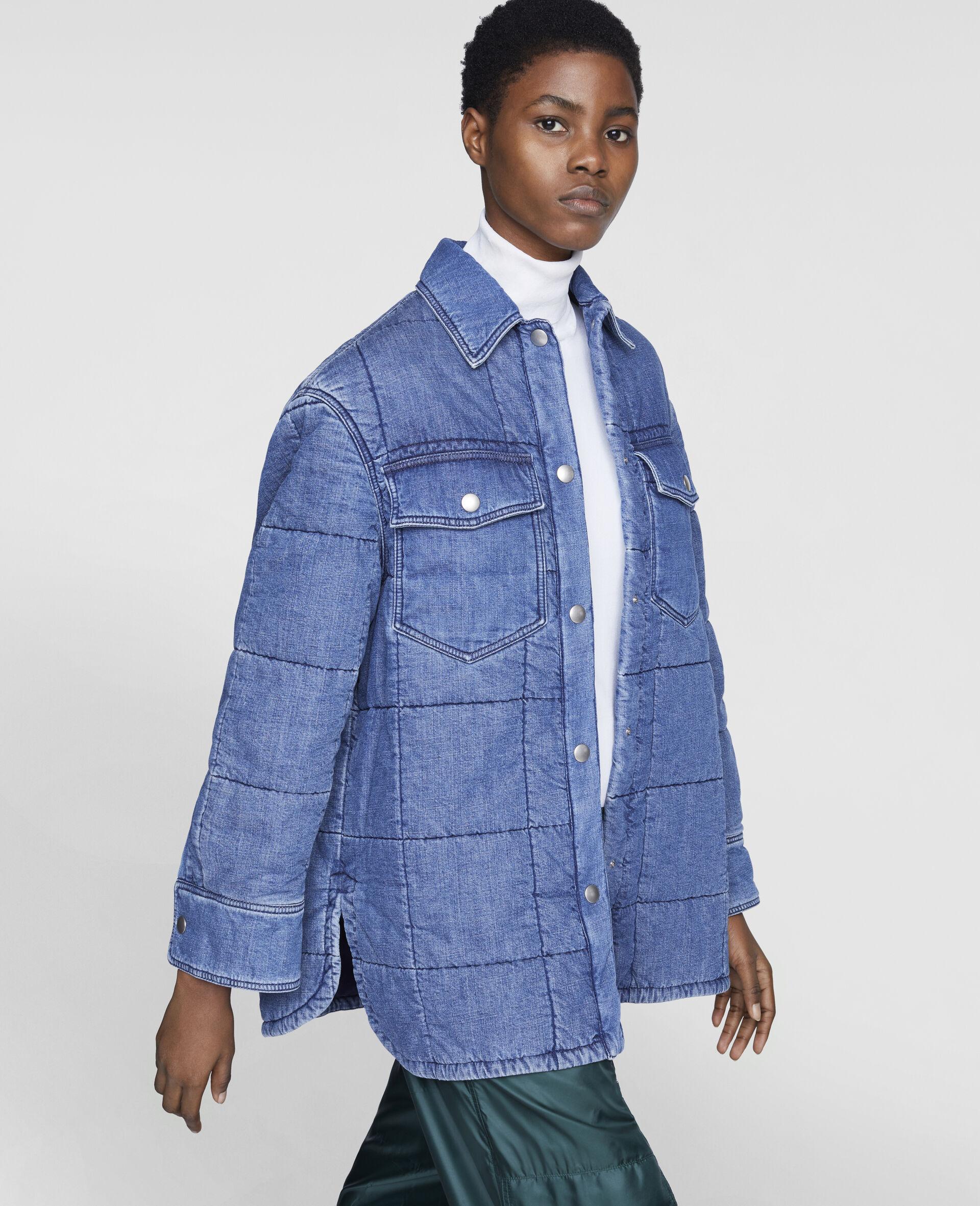 Quilted Denim Shirt-Blue-large image number 3