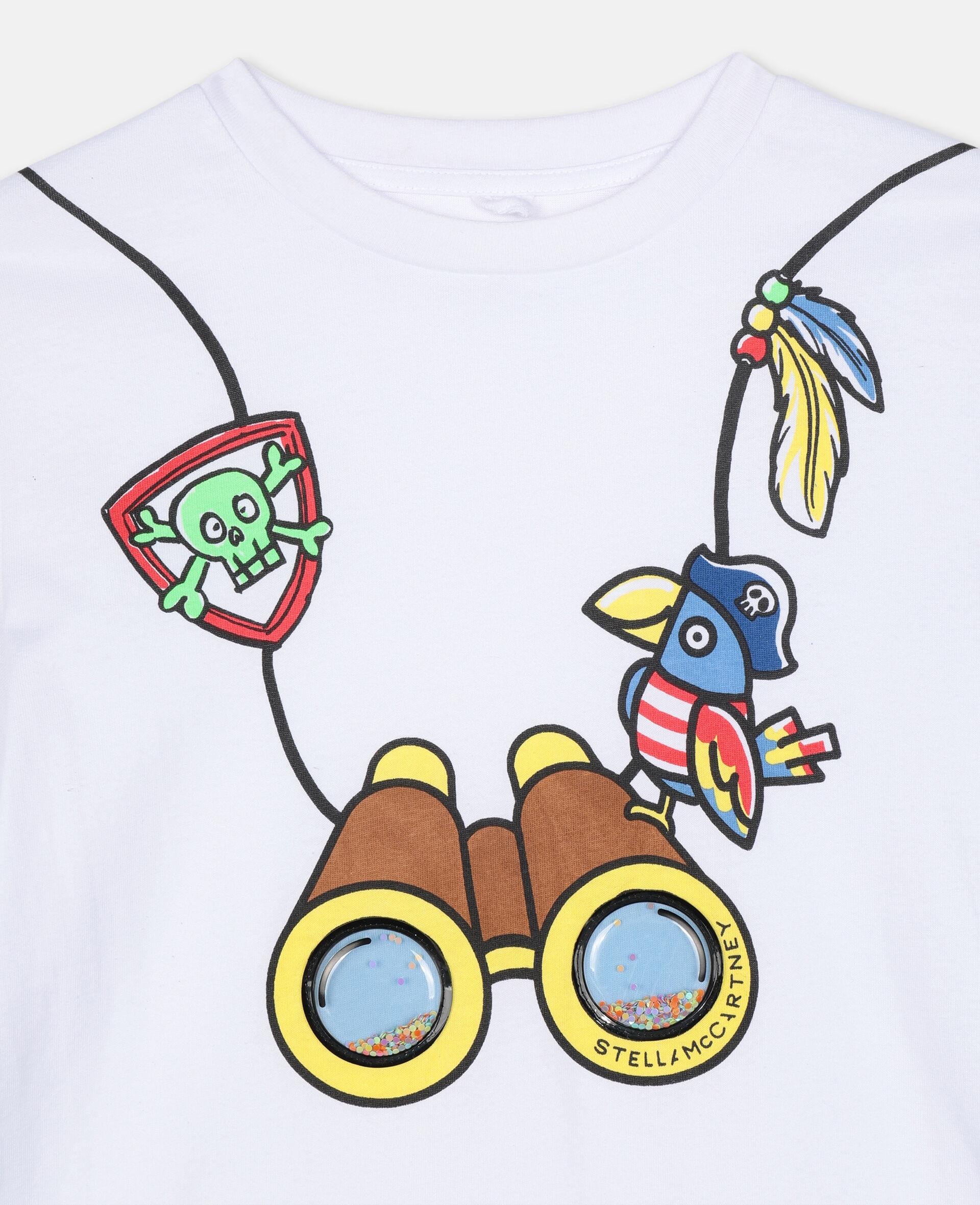 Baumwoll-T-Shirt mit 3D-Fernglas-Print -Weiß-large image number 1