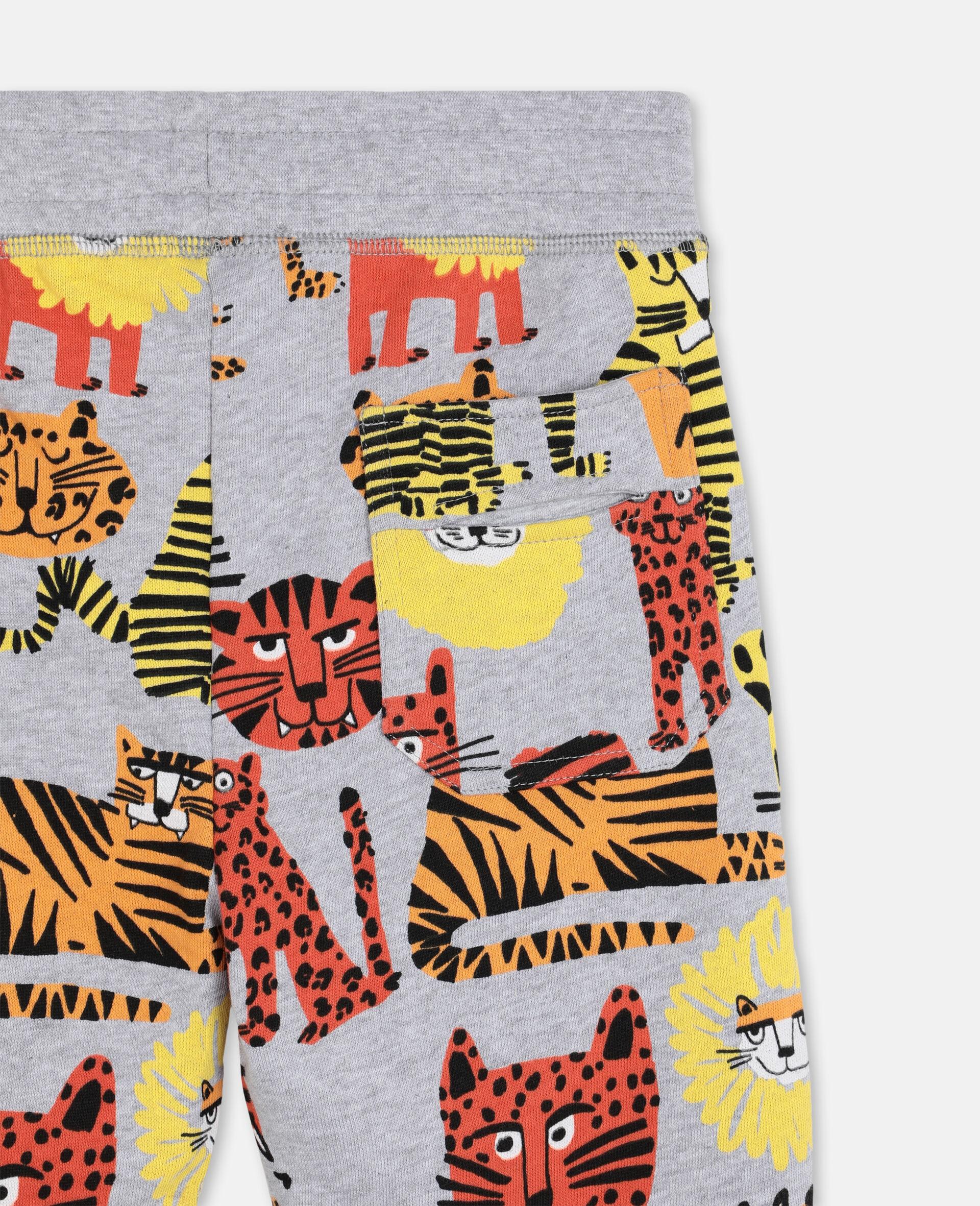 Pantalon de survêtement en coton à motif chats sauvages -Fantaisie-large image number 2