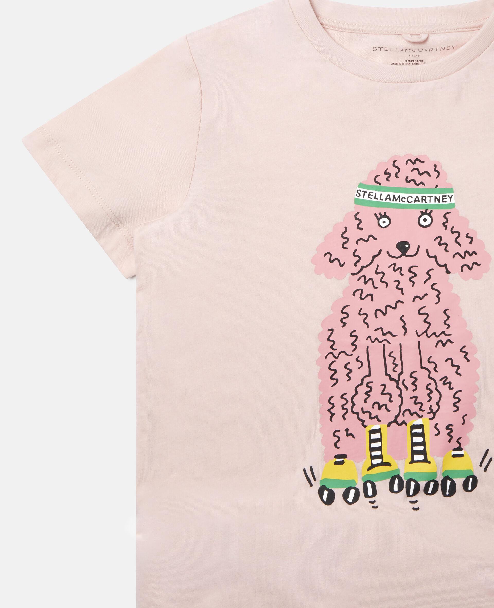 T-Shirt aus Baumwolle mit Pudel auf Rollerskates-Rose-large image number 2