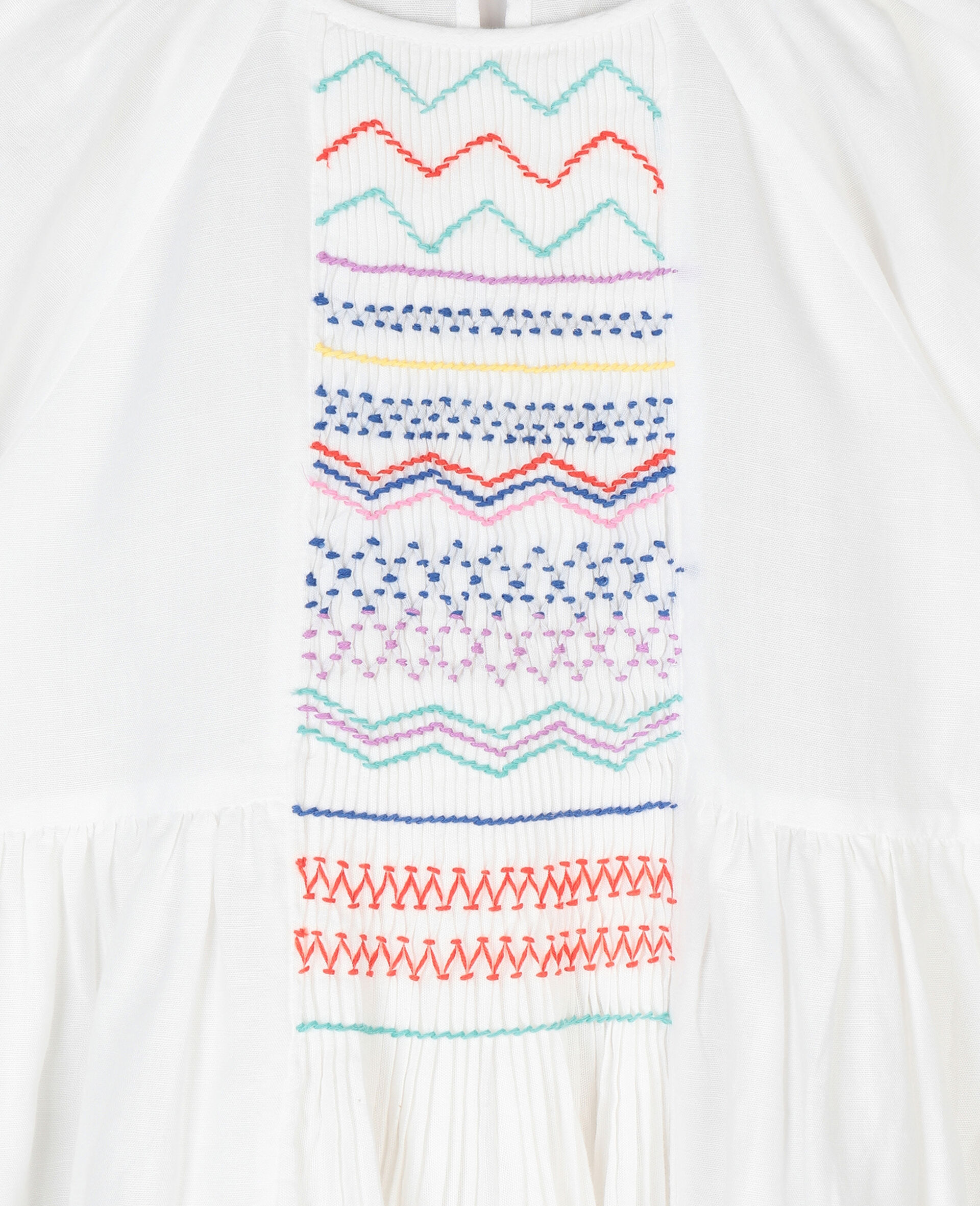 Smock Detail Dress-White-large image number 1