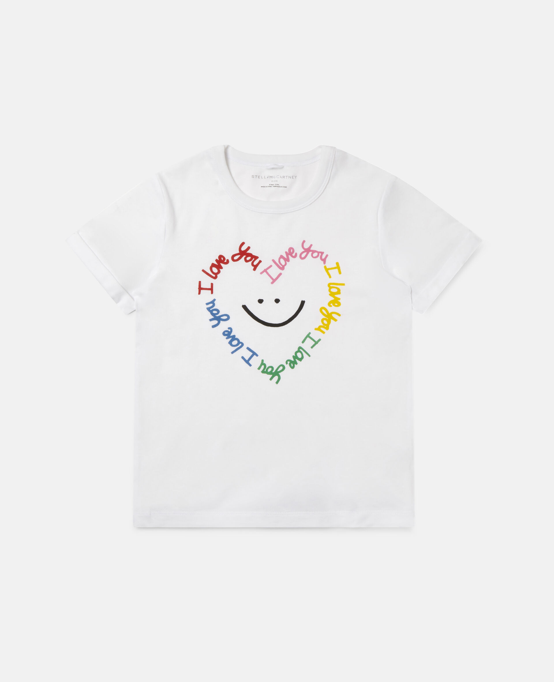 Smile Heart Cotton T-shirt -White-large image number 0