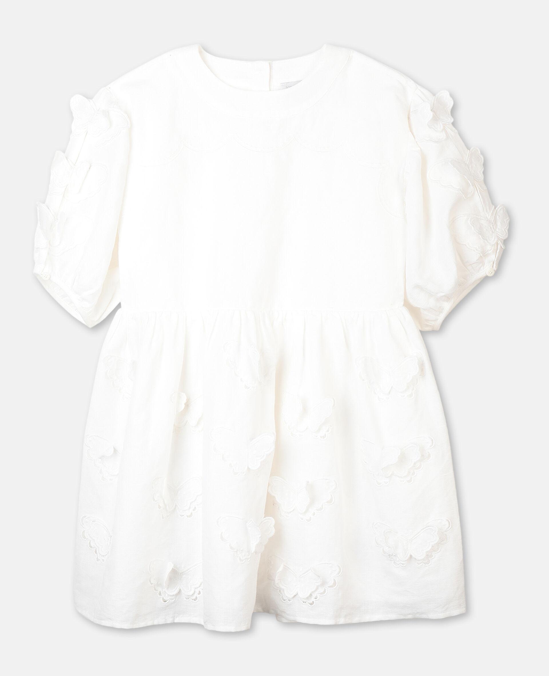 Kleid mit Schmetterling-Stickerei-Weiß-large image number 0