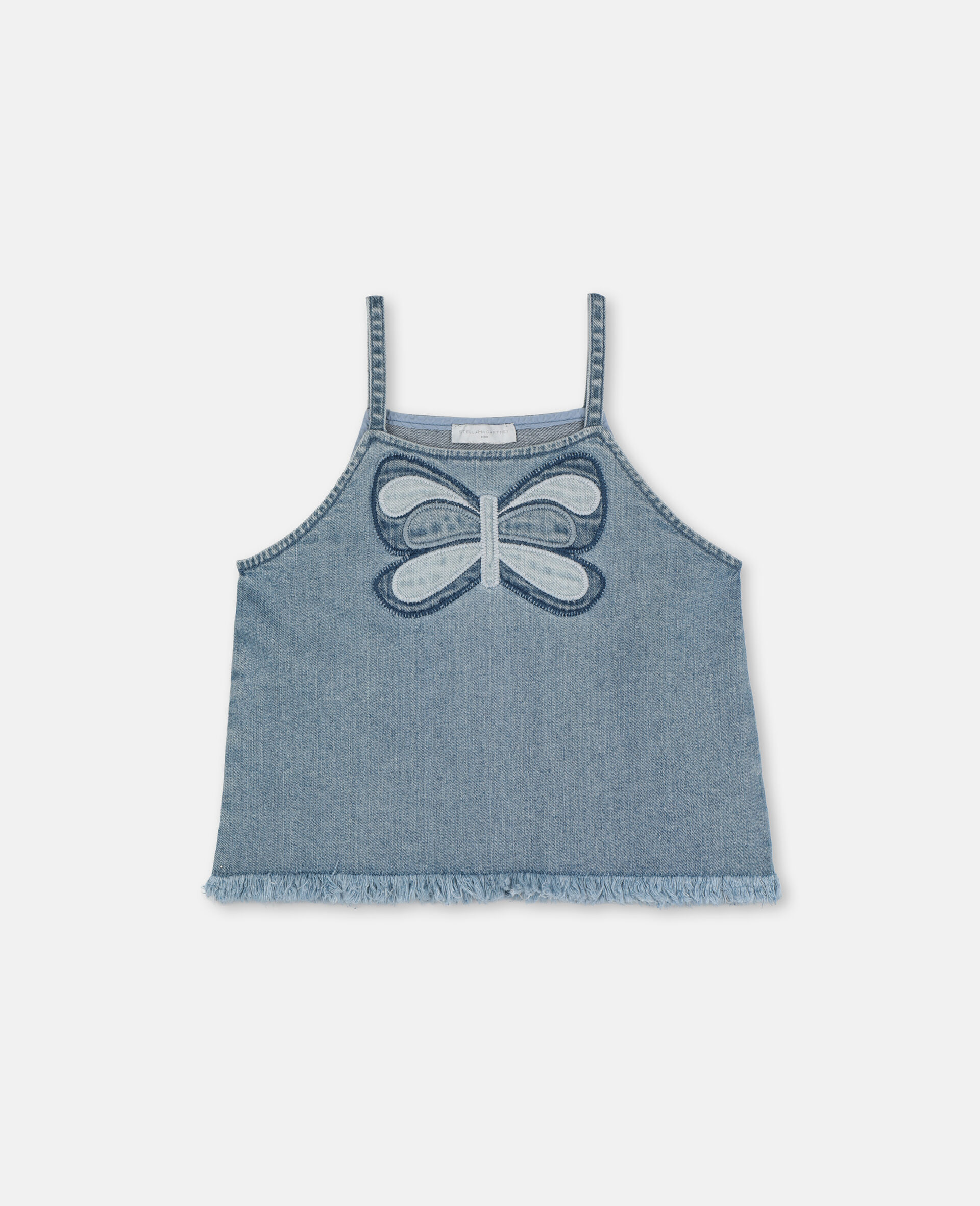Butterfly Denim Top-Blue-large image number 0