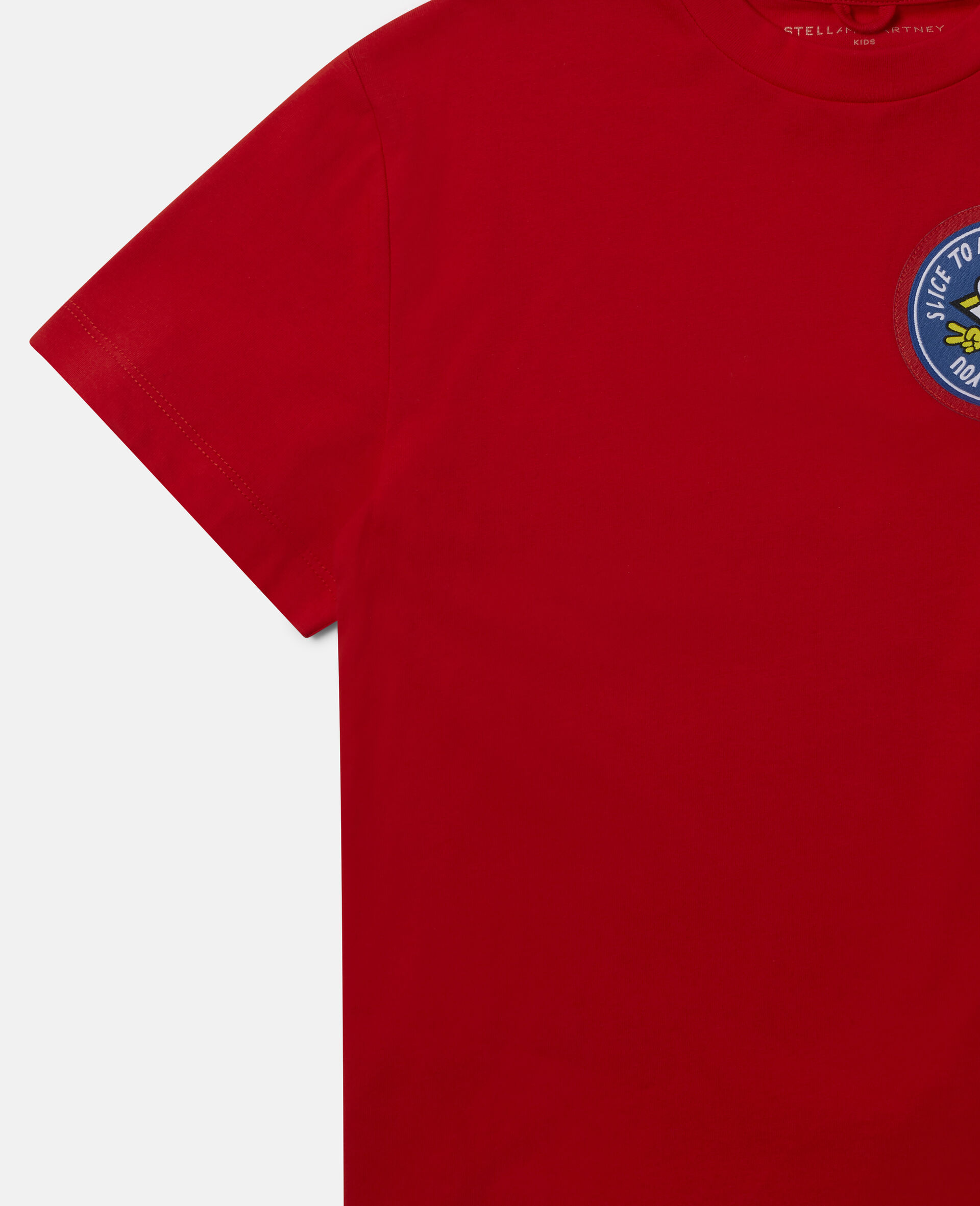 Pizza Badges Oversized Cotton T-Shirt -Red-large image number 2