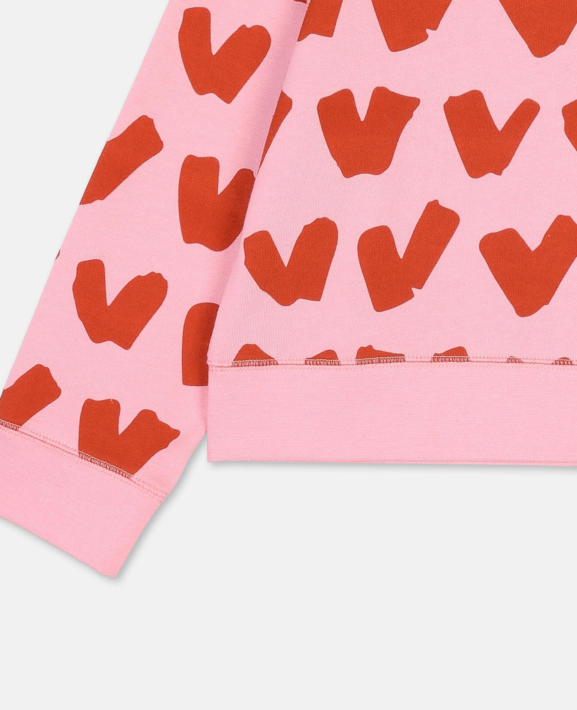 Hearts Cotton Fleece Sweatshirt -Pink-large image number 1