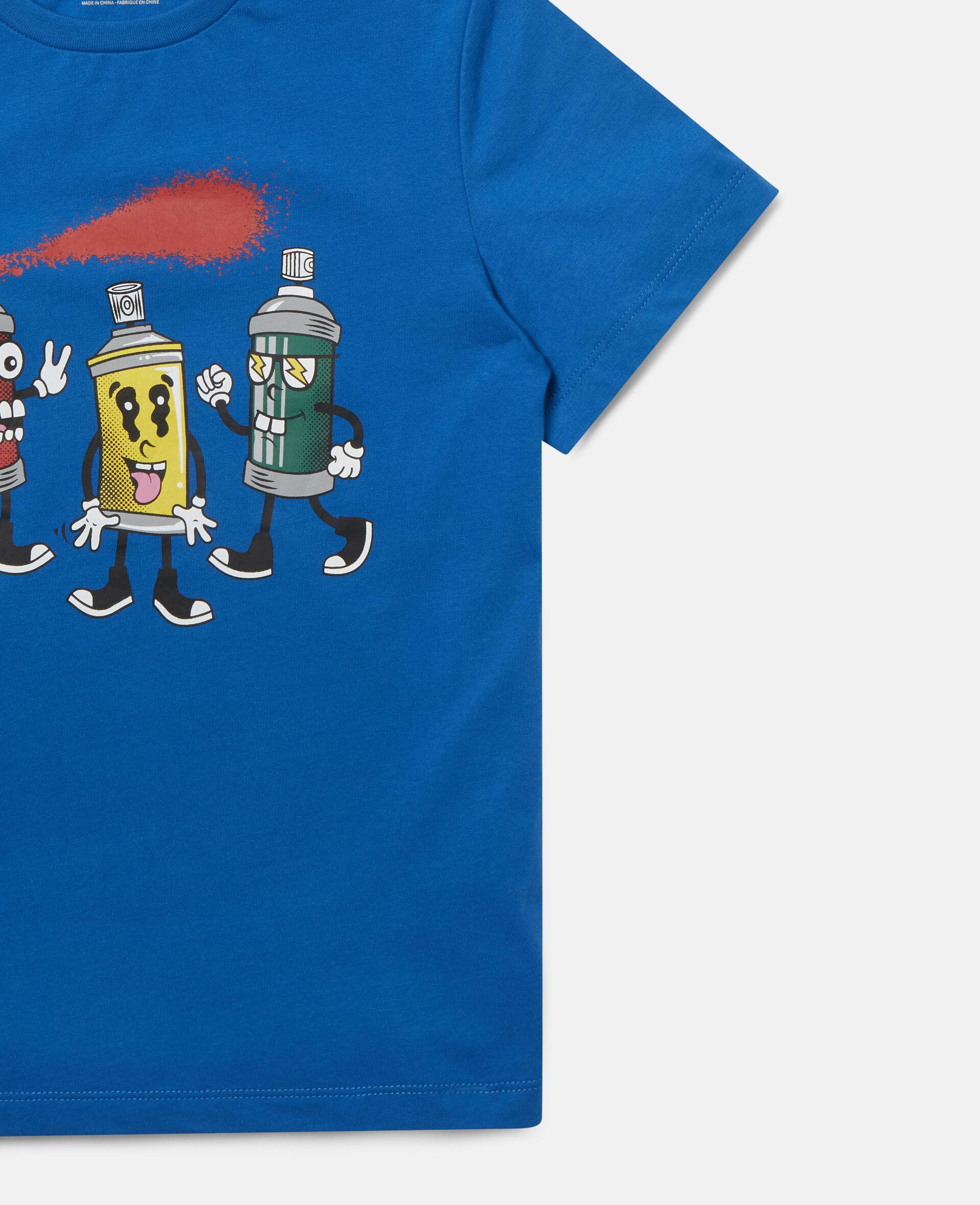 """T-Shirt aus Baumwolle mit """"Spray Gang""""-Print-Blau-large image number 1"""