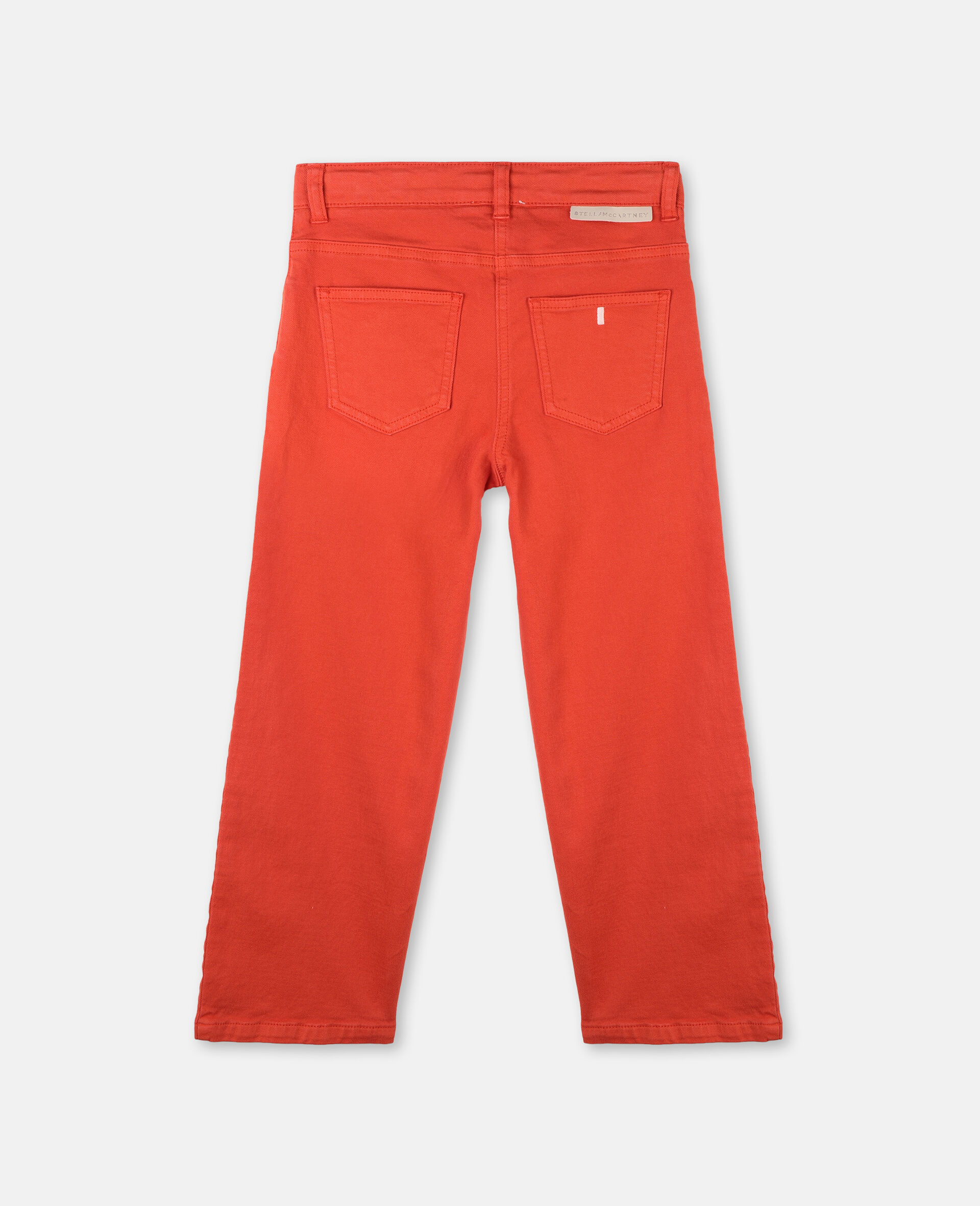 Cotton Denim Trousers-Red-large image number 3