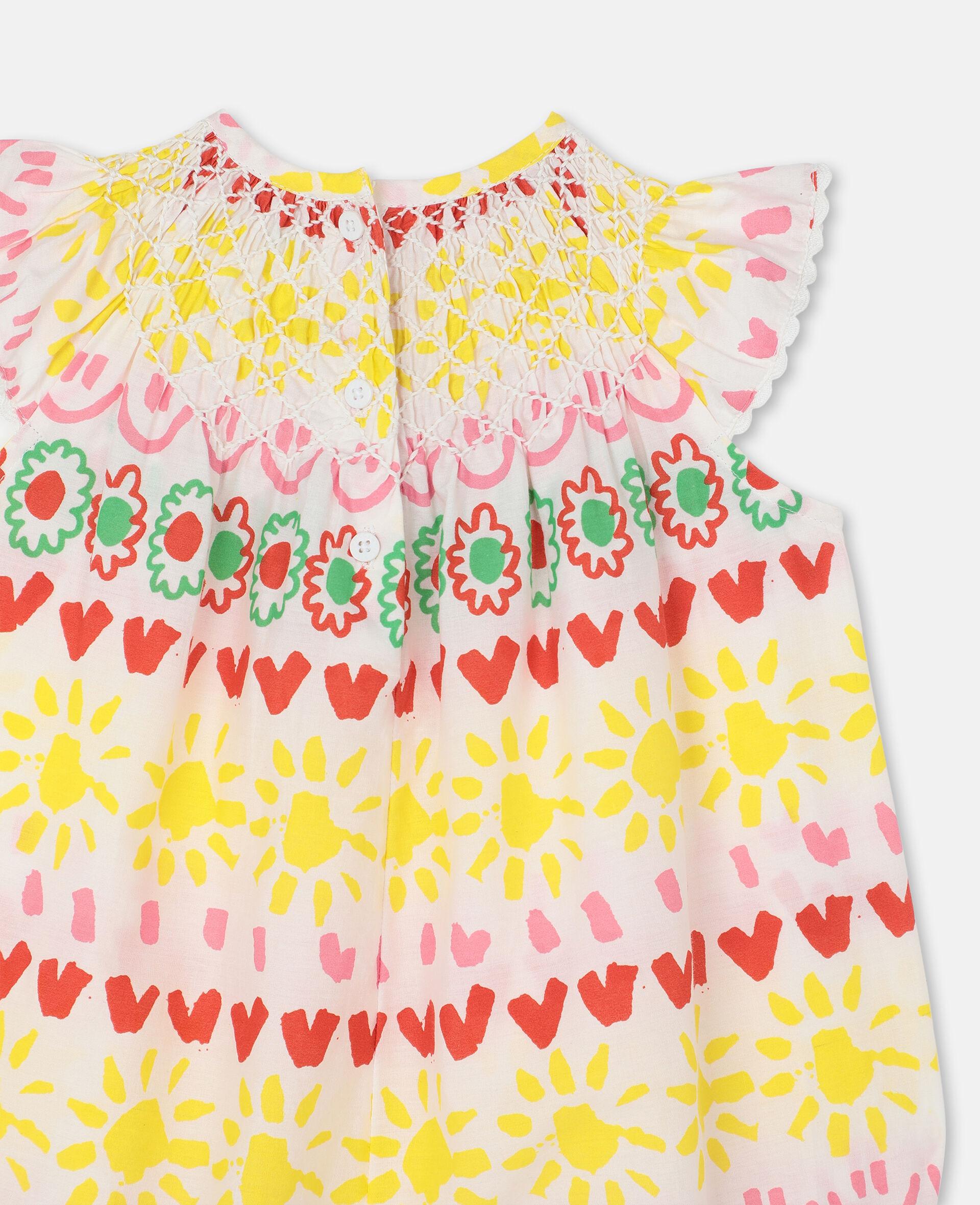 Combinaison en coton rayé avec motif «Happy» -Jaune-large image number 2