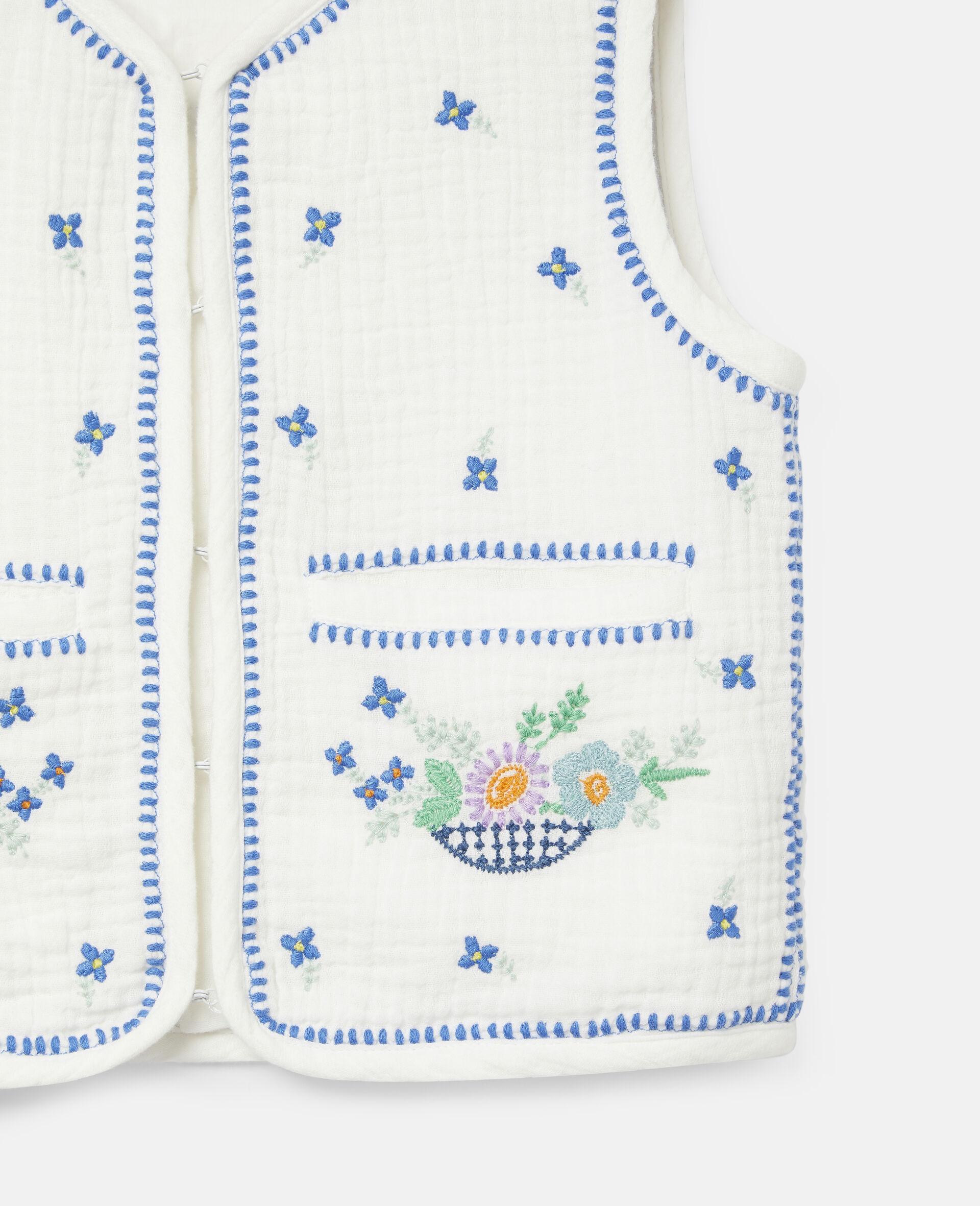 Gilet sans manches en coton à fleurs brodées-Blanc-large image number 1
