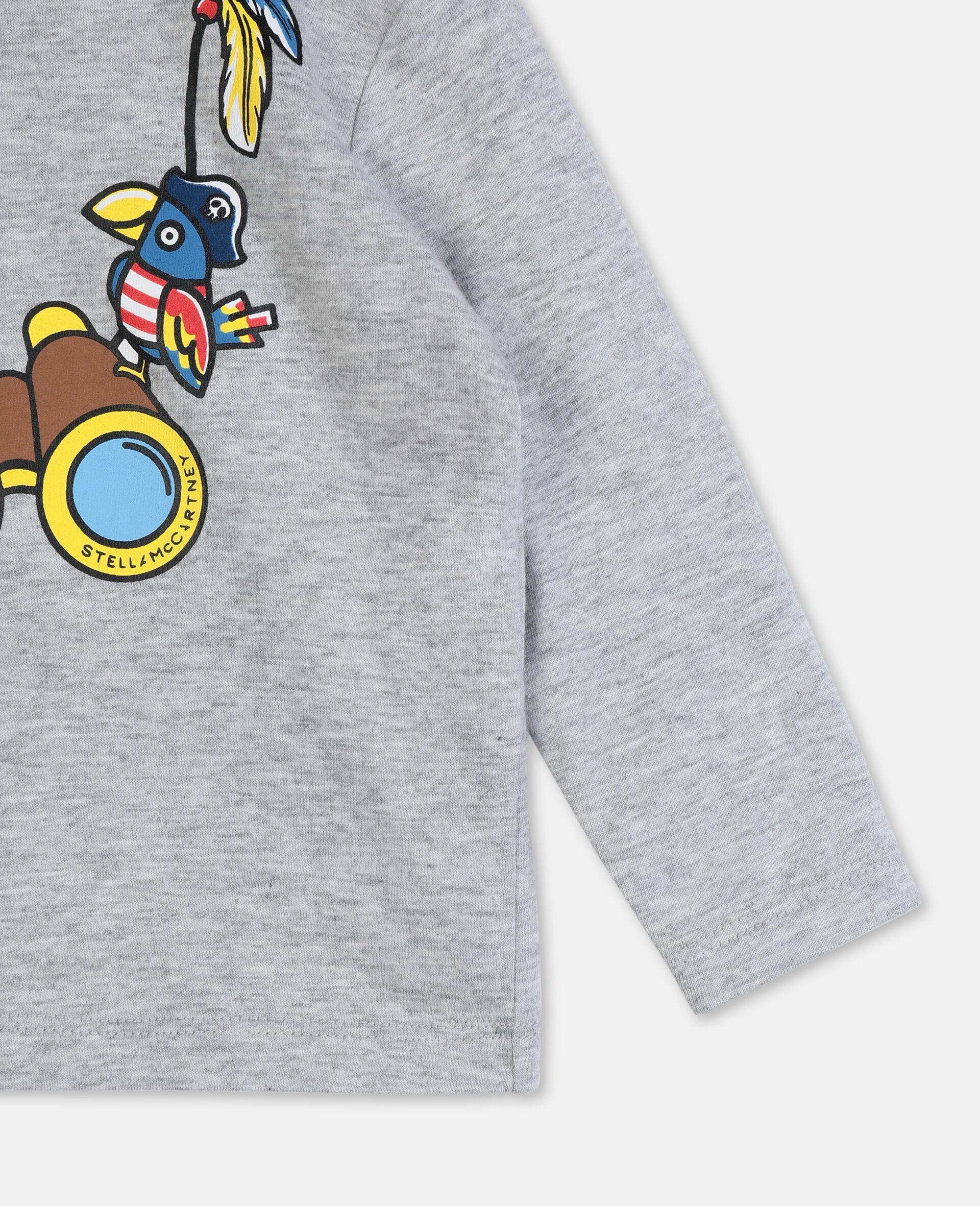 T-shirt en coton à motif jumelles -Gris-large image number 1