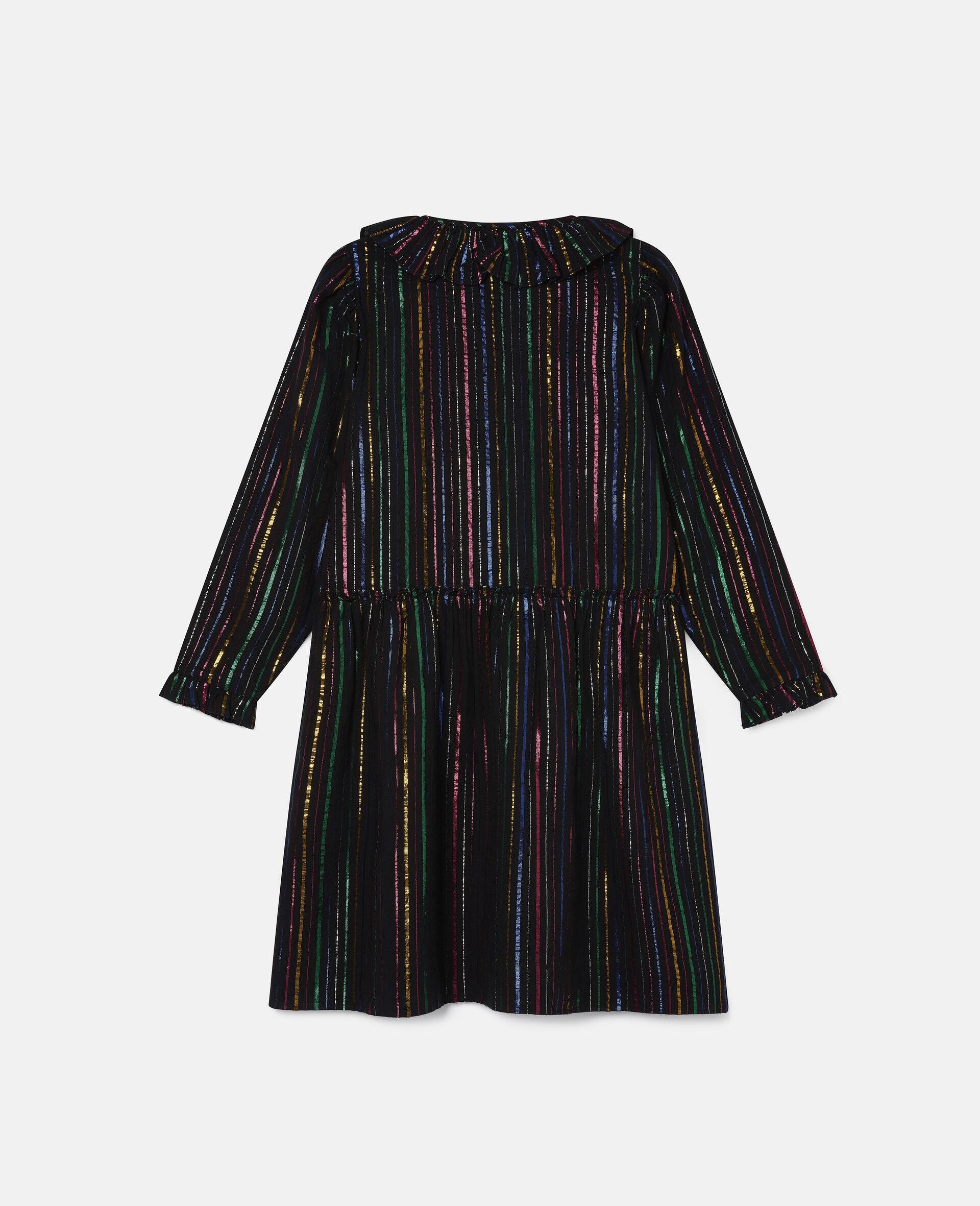 Rainbow Lurex Striped Cotton Dress-Black-large image number 3