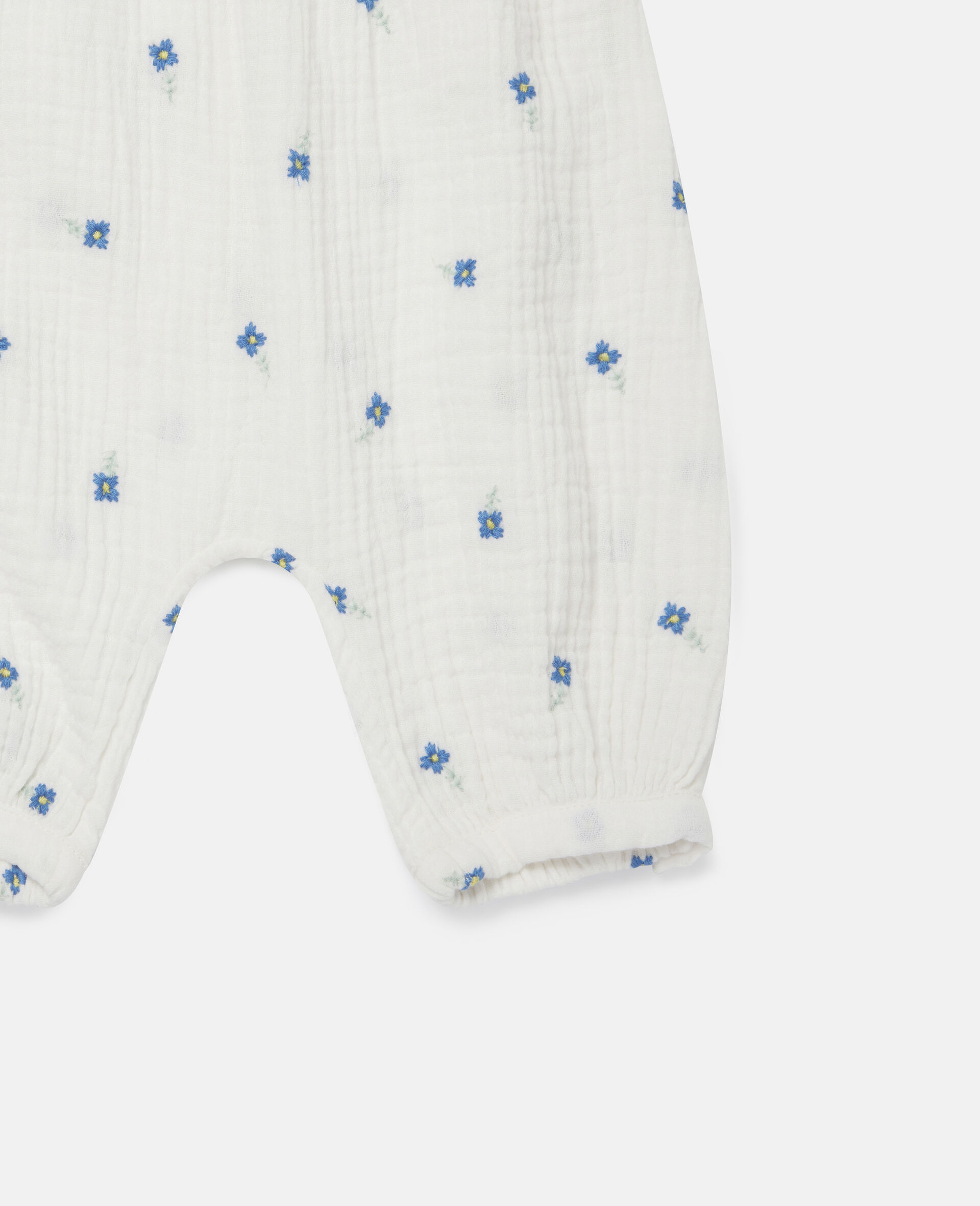 Embroidered Flowers Cotton Trousers-White-large image number 1