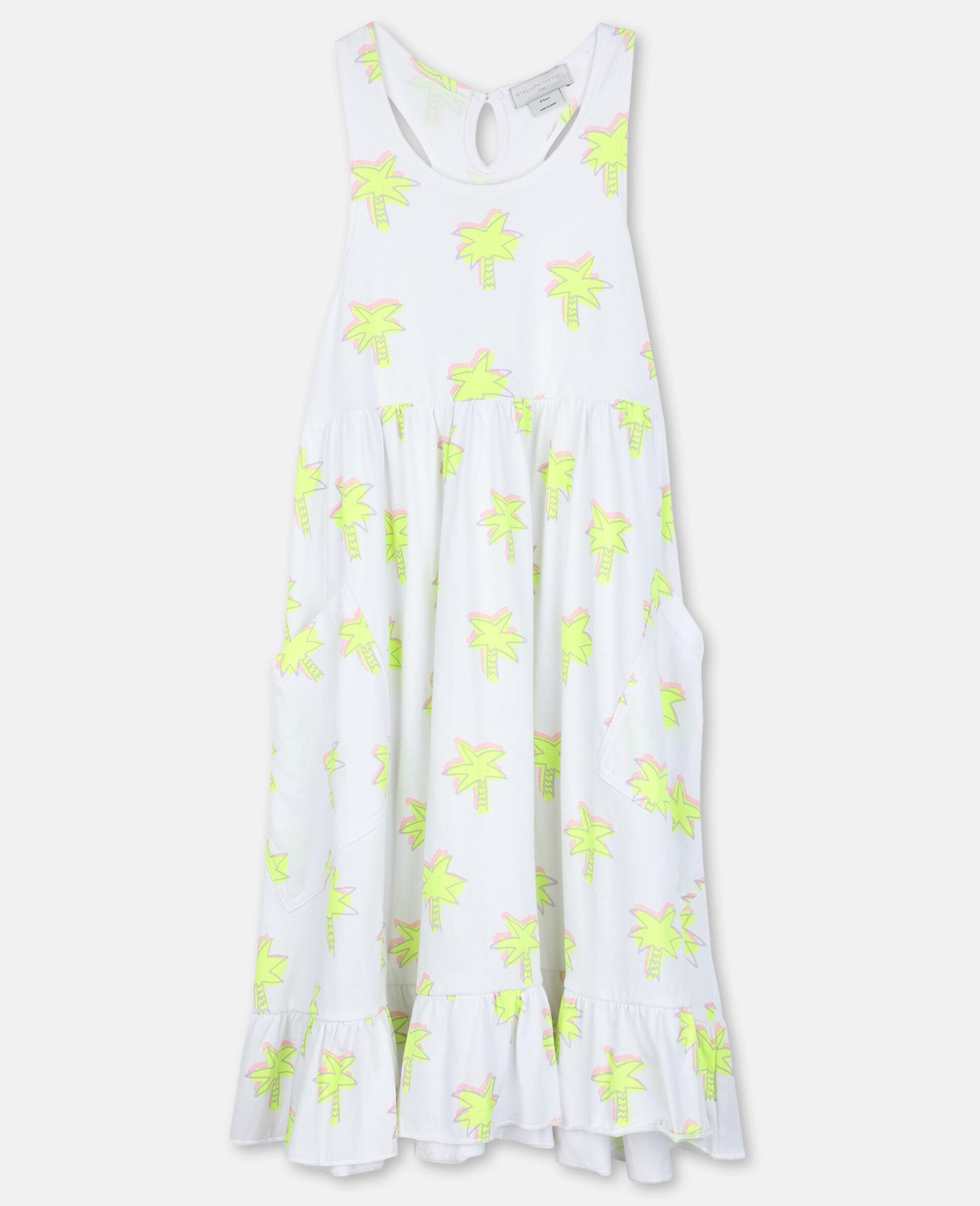 Doodle Palm Cotton Dress-White-large image number 0