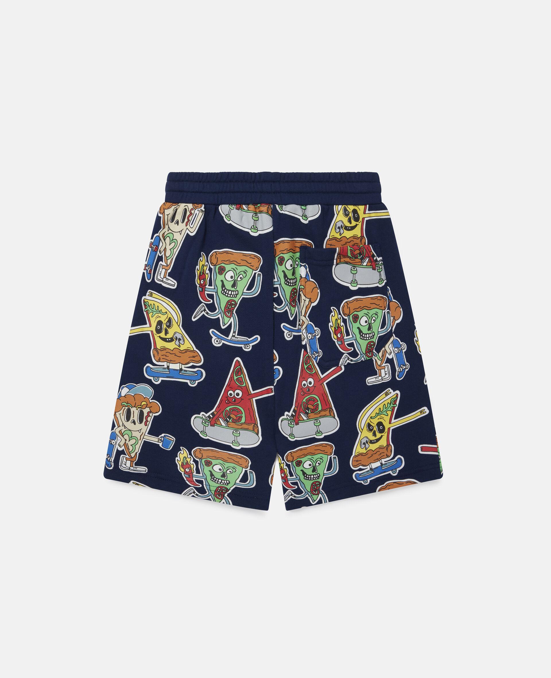 Fleece-Shorts mit Pizza-Skater-Motiv-Blau-large image number 3