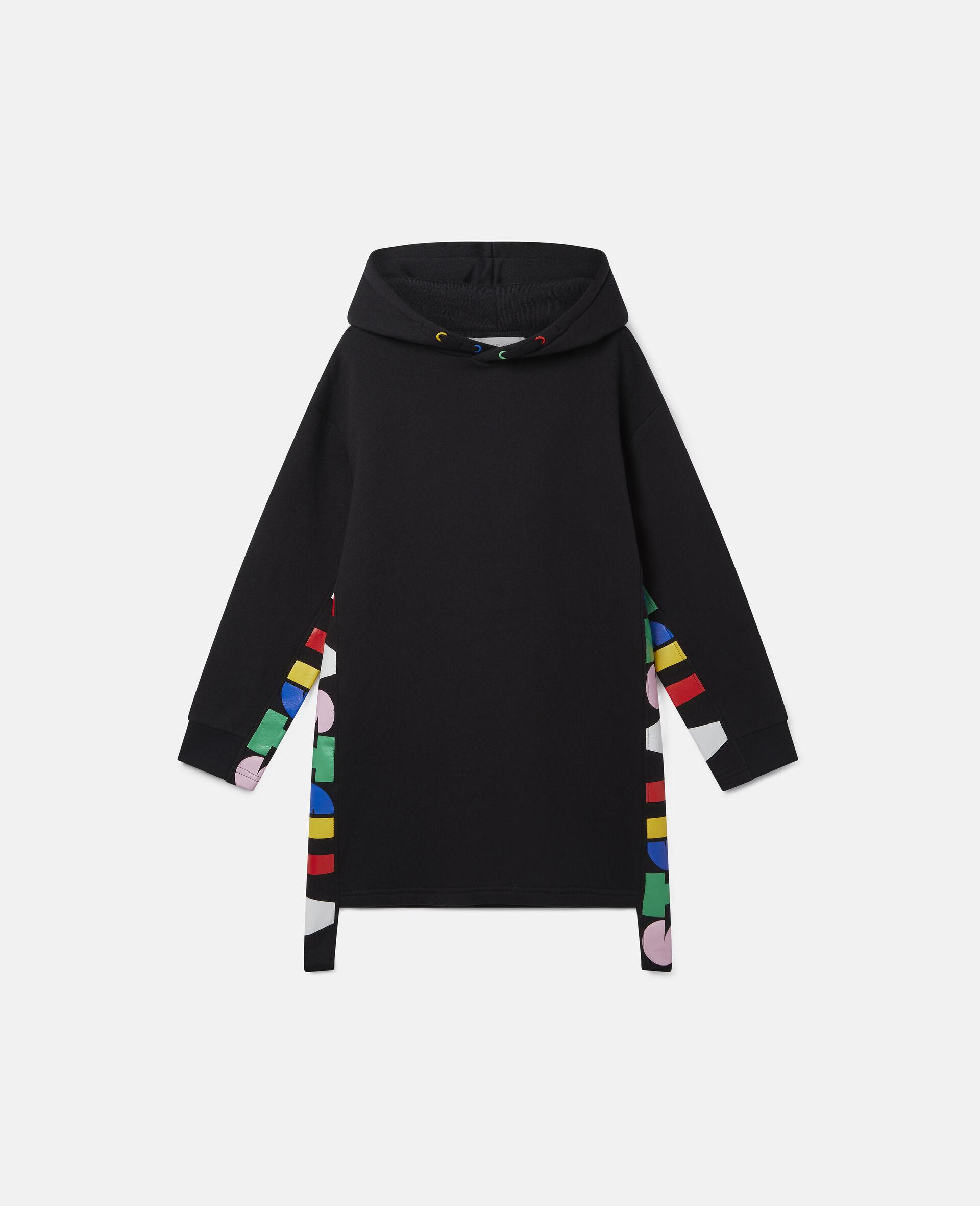 Oversize Hooded Fleece Dress-Black-large image number 0