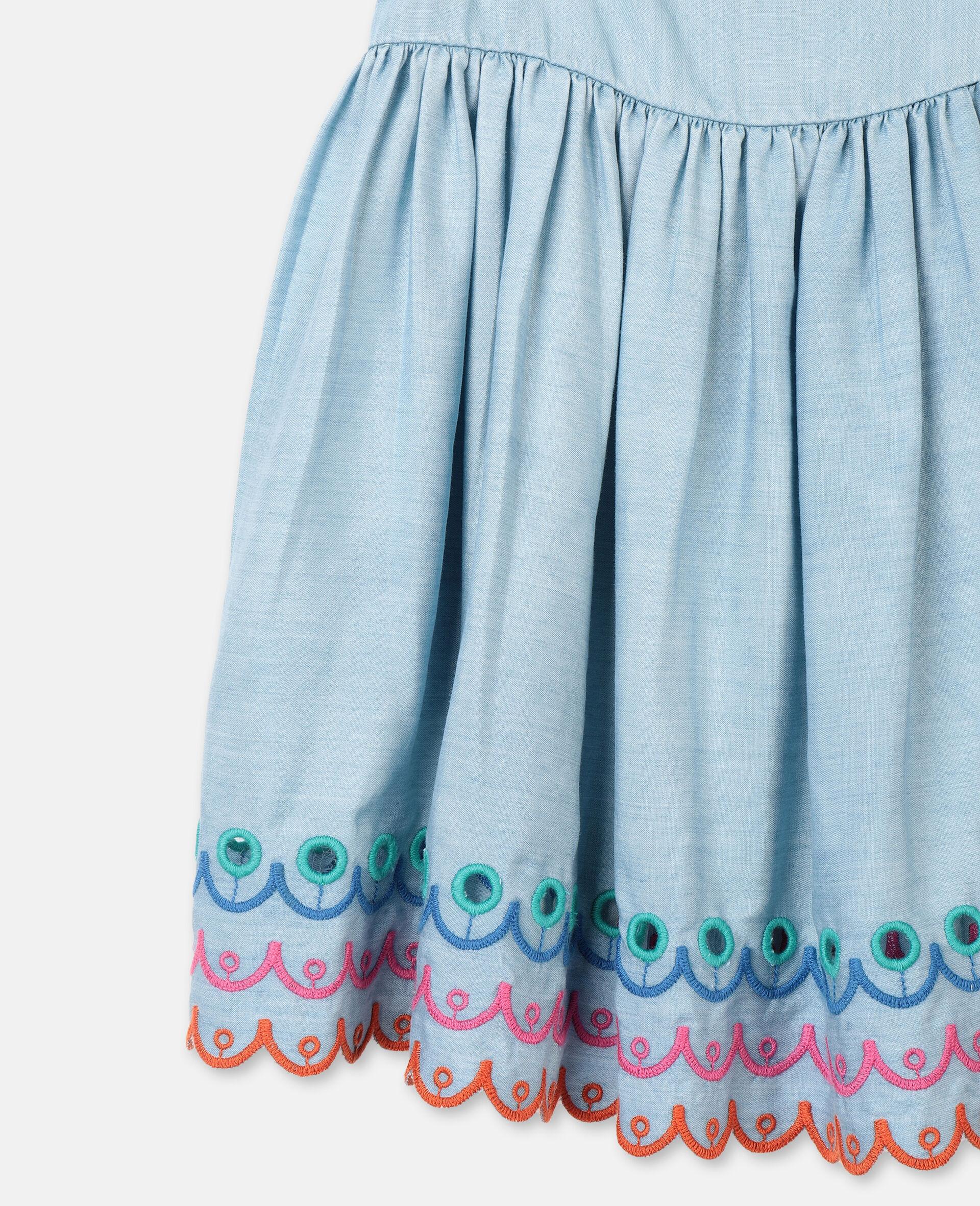 Robe en denim festonné-Bleu-large image number 1