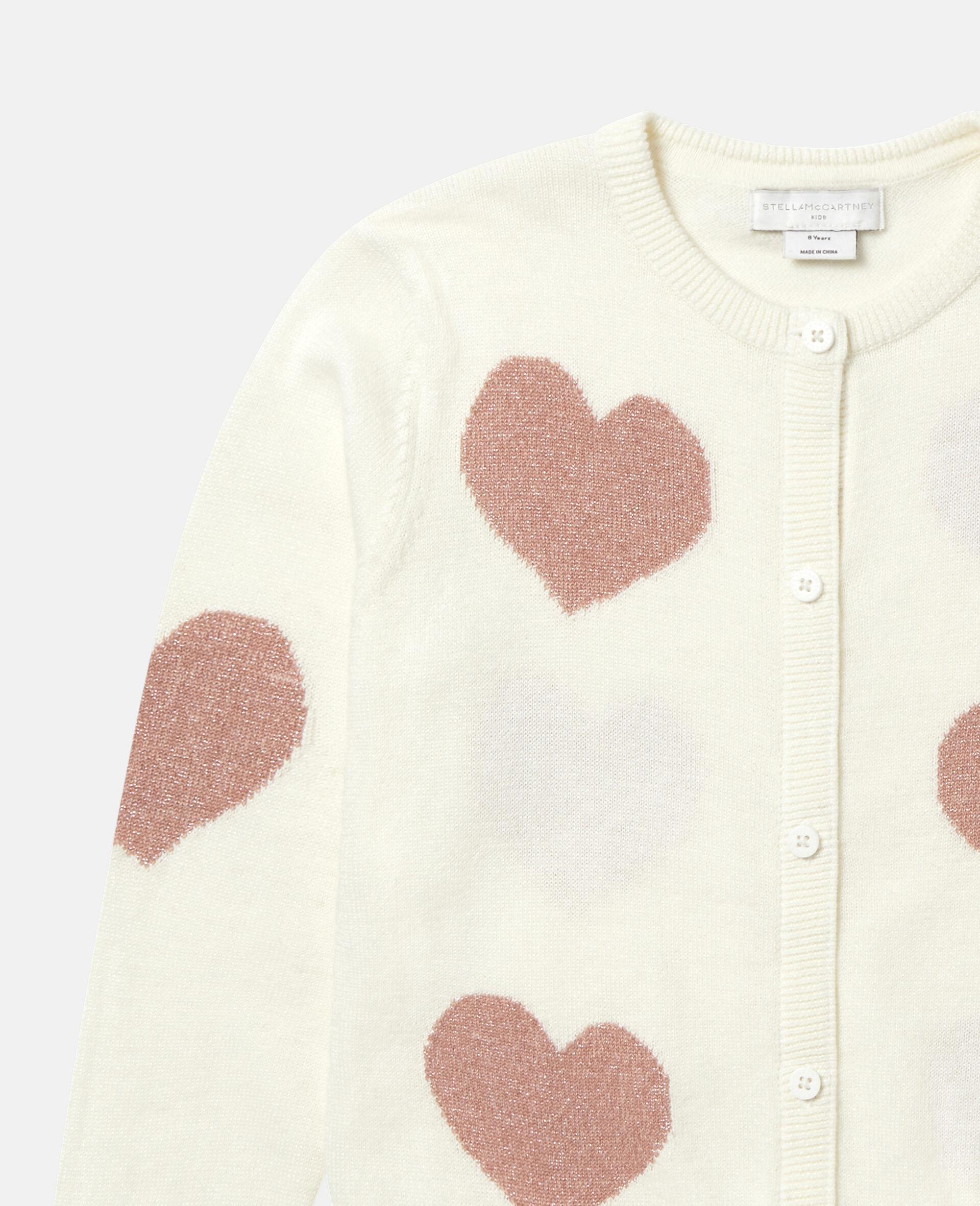 Hearts Knit Cardigan -White-large image number 1