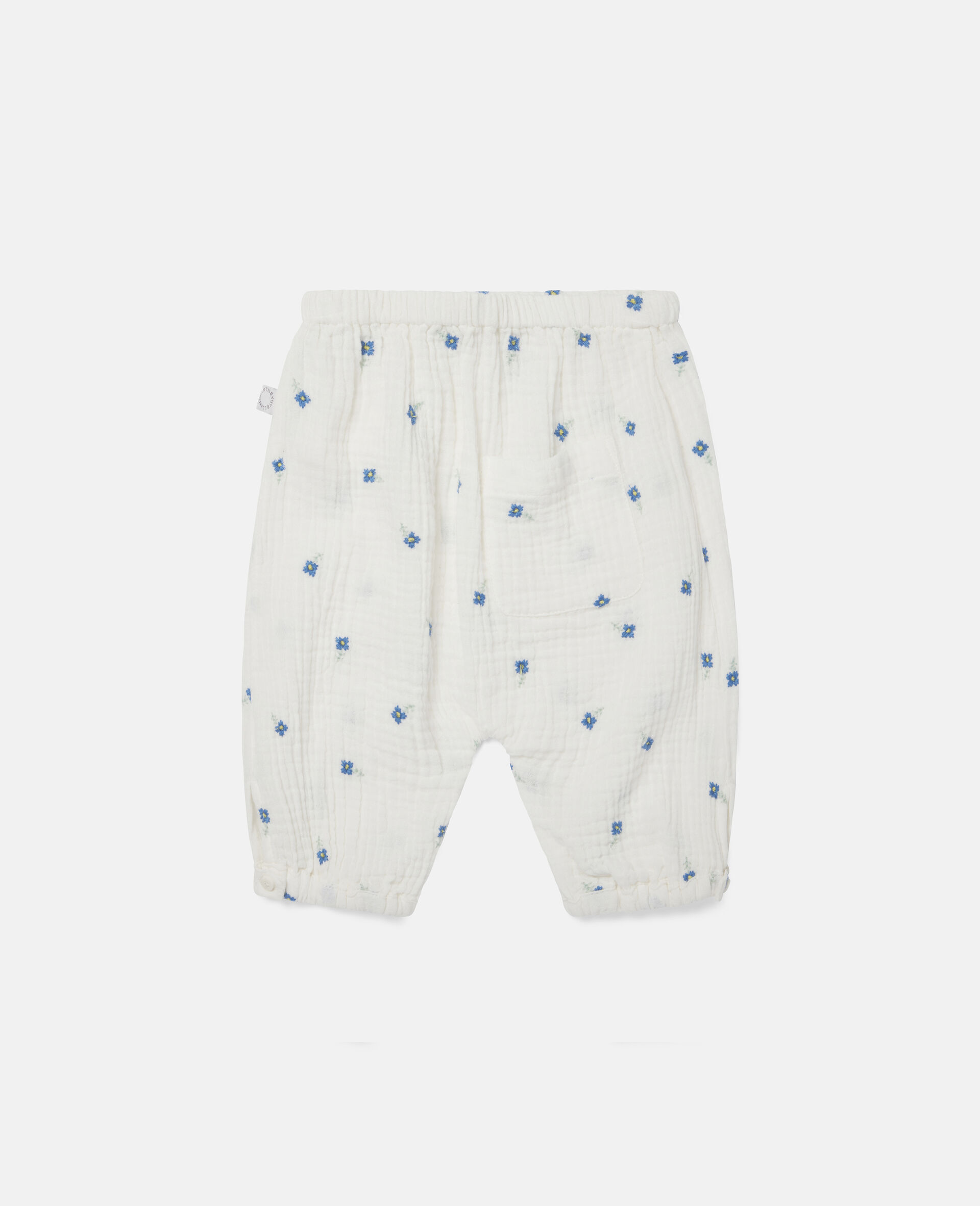 Embroidered Flowers Cotton Trousers-White-large image number 3
