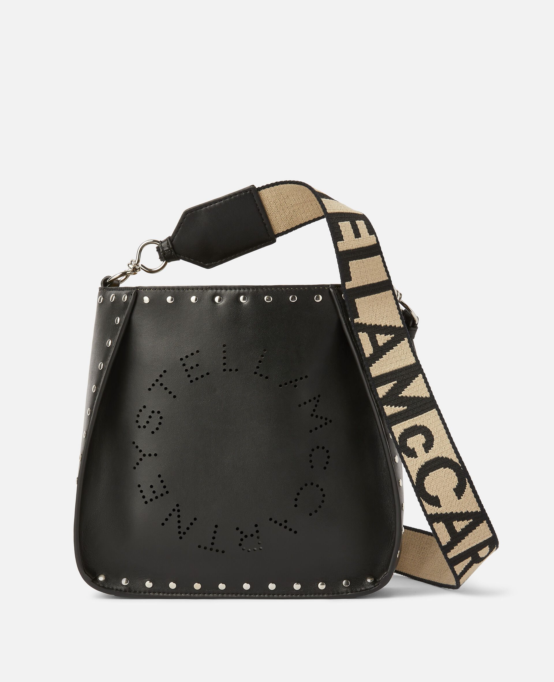 Stella Logo Studded Shoulder Bag-Black-large image number 0