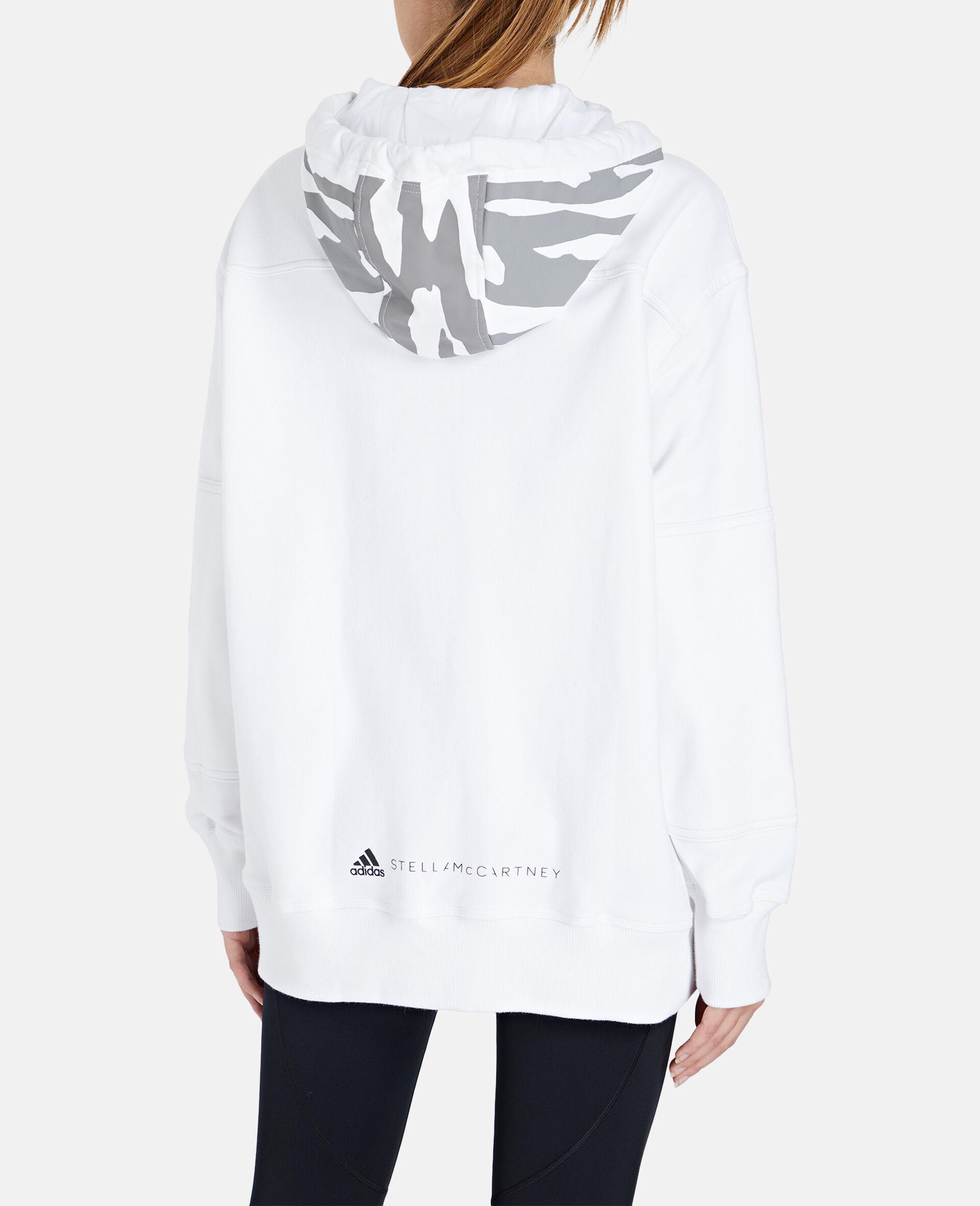 Weißer Kapuzenpullover mit durchgehendem Reißverschluss-Weiß-large image number 2