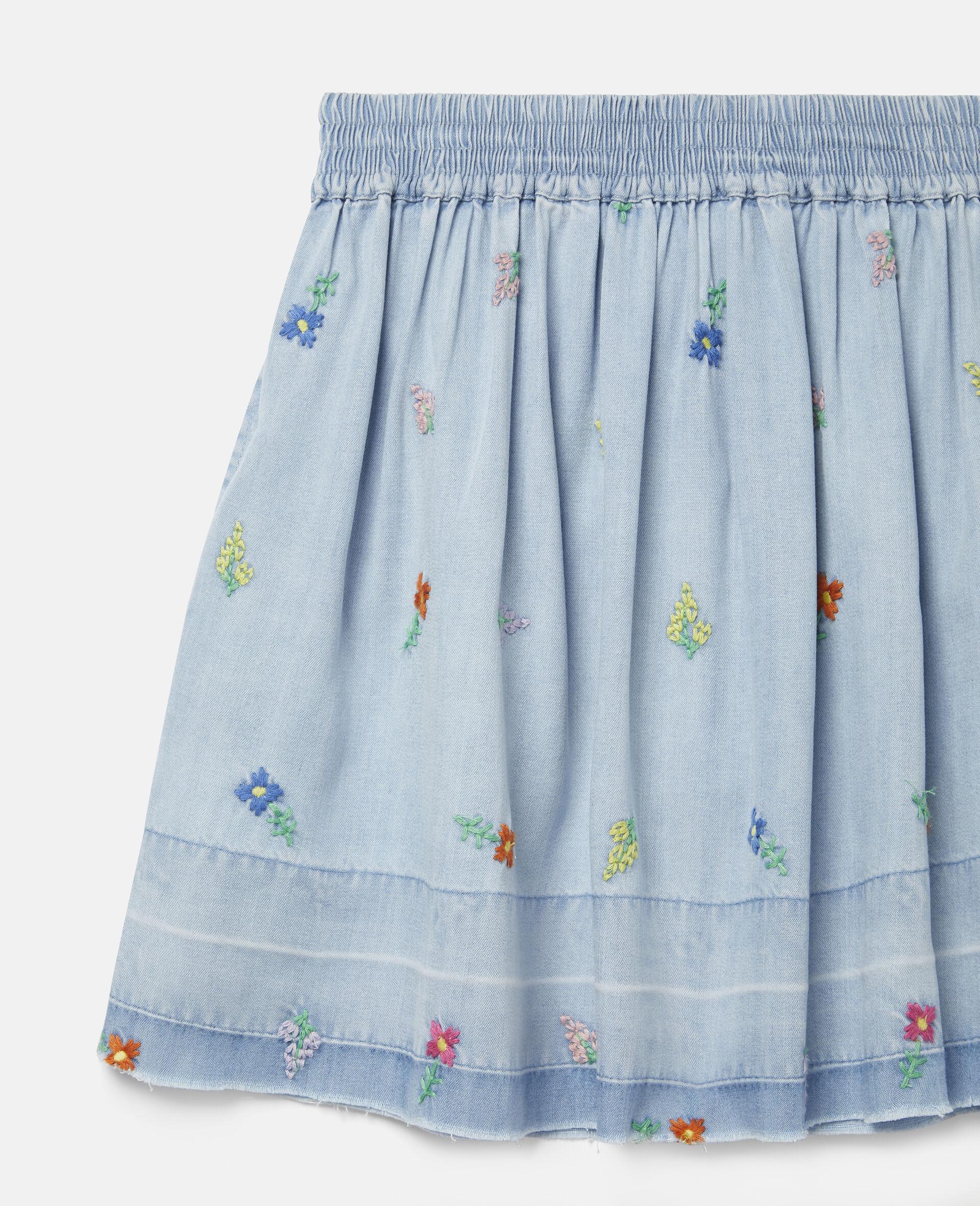 Embroidered Flowers Denim Skirt-Blue-large image number 2