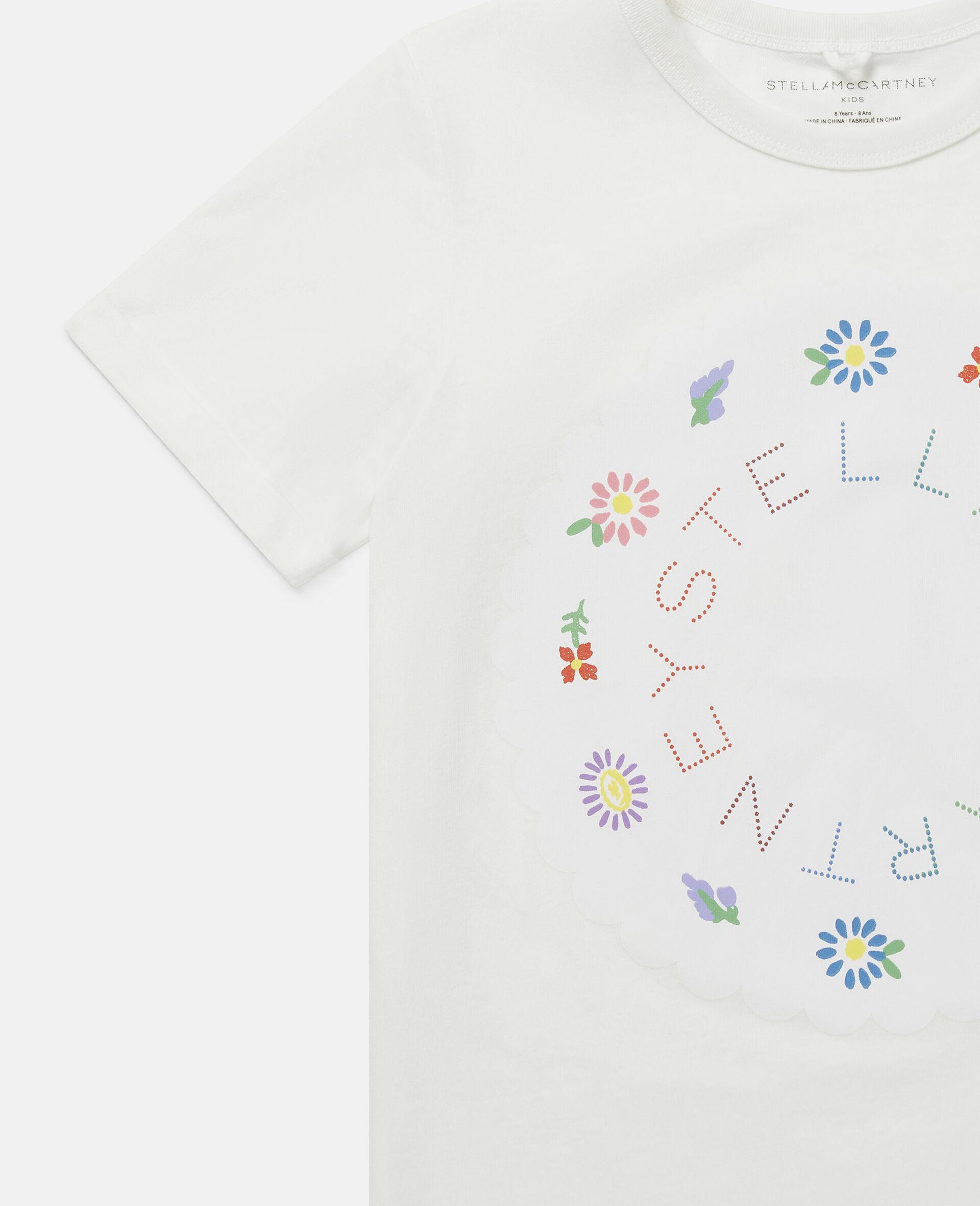 Flowers Logo Cotton T-Shirt-White-large image number 2