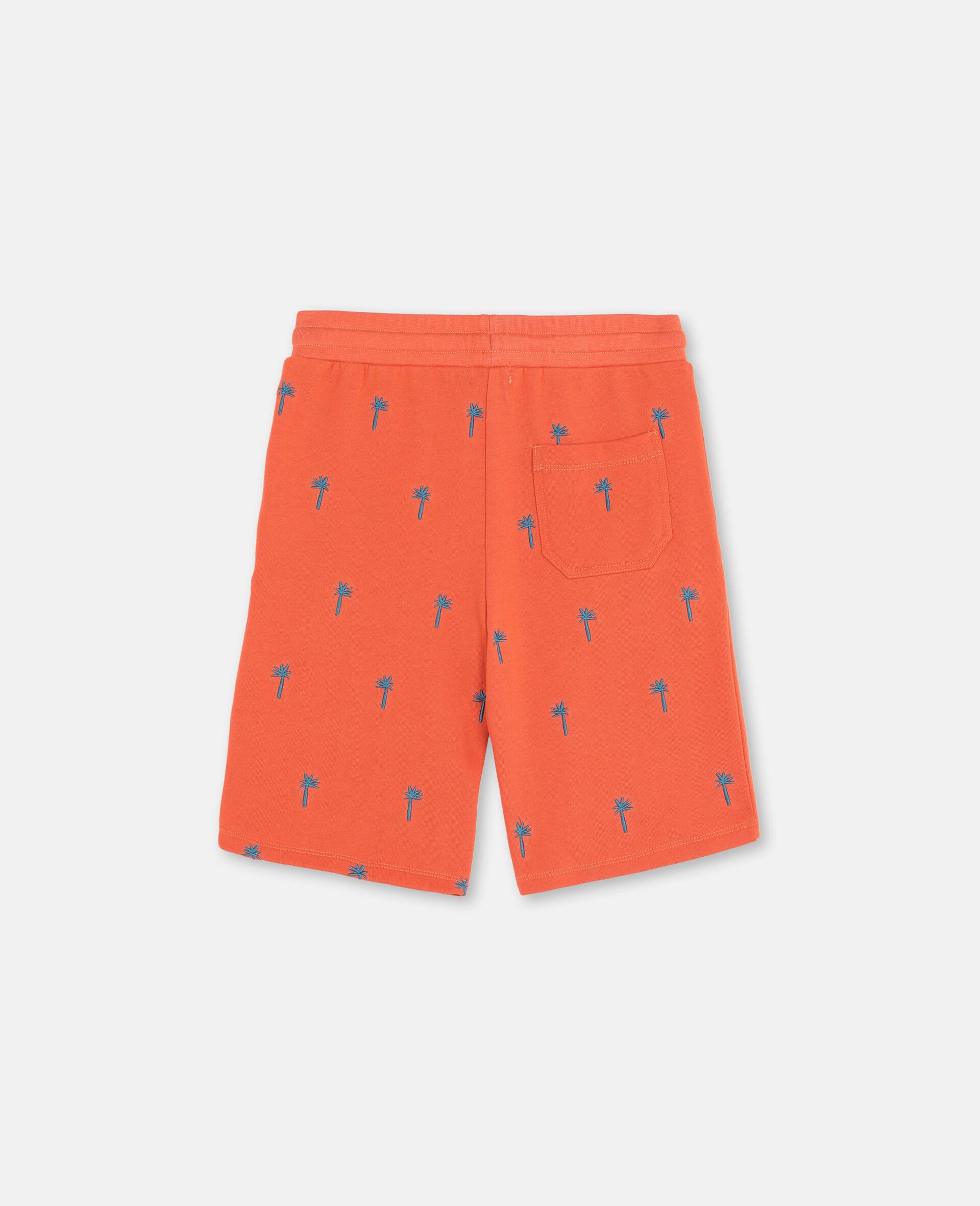Short en coton à motifs palmiers brodés-Rouge-large image number 3